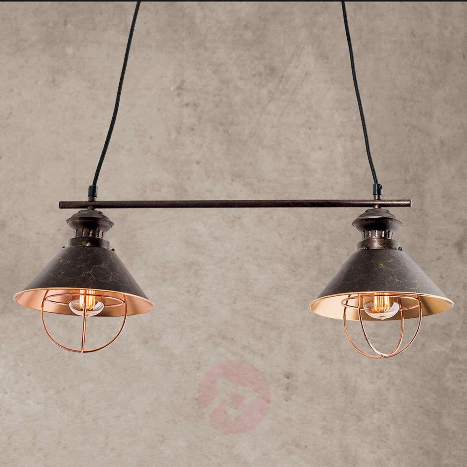 2-bulb Shanta hanging light in black copper-7255170-07