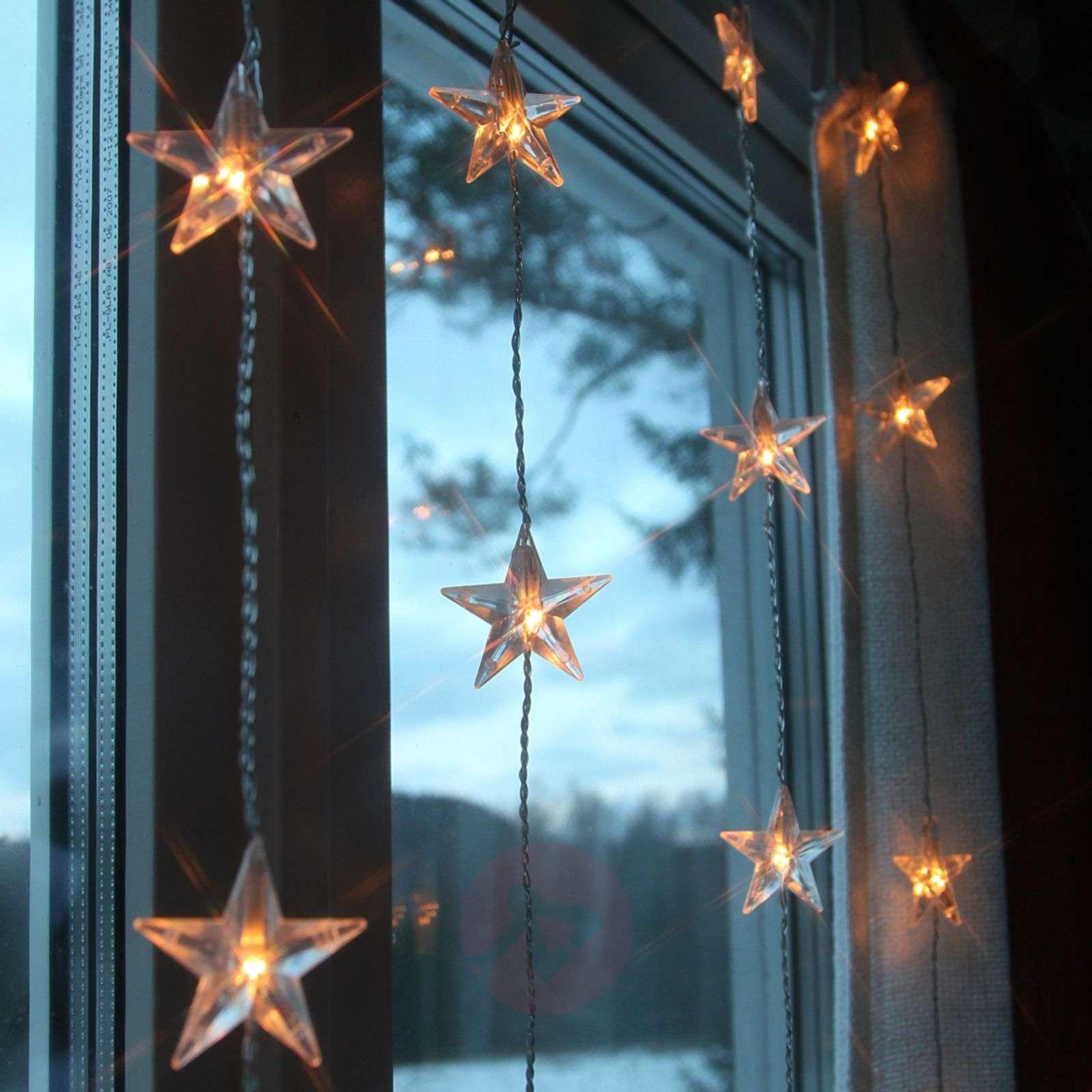 200 cm high LED curtain light Star, 50-bulb