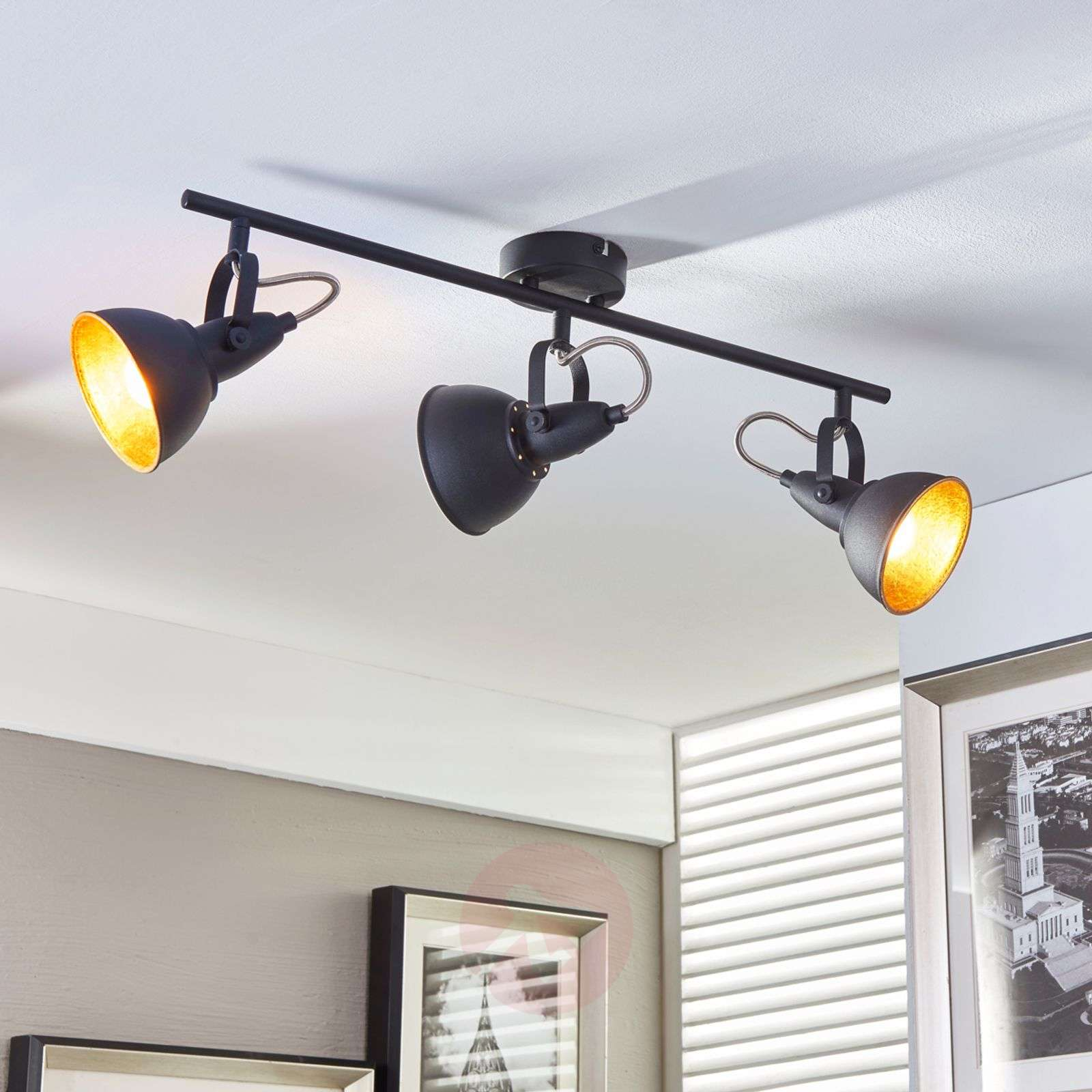 3-bulb ceiling light Julin, black and gold-9620730-03