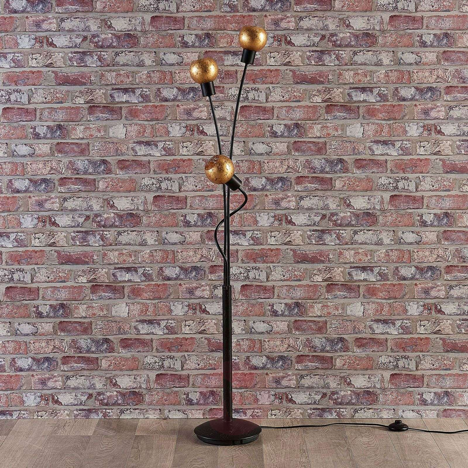 3-bulb floor lamp Julien, glass with gold film-9621303-02
