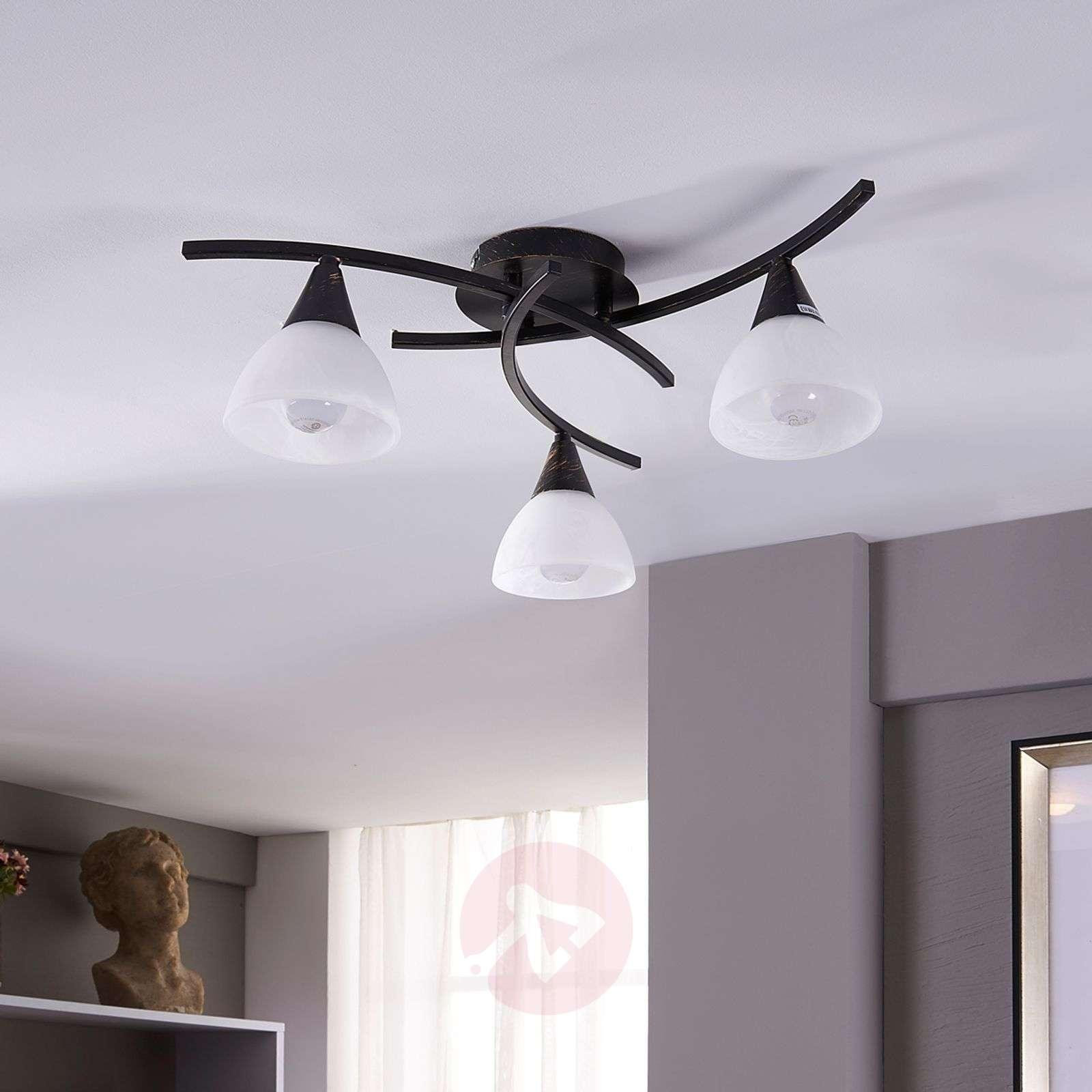 3-bulb LED ceiling lamp Della, black-gold-9620970-01
