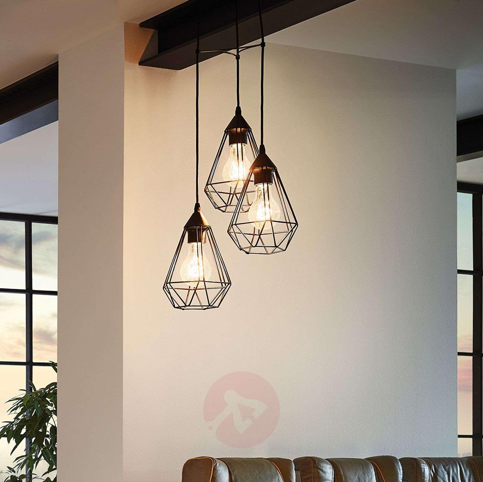 3 Bulb Vintage Pendant Light Tarbes In Black