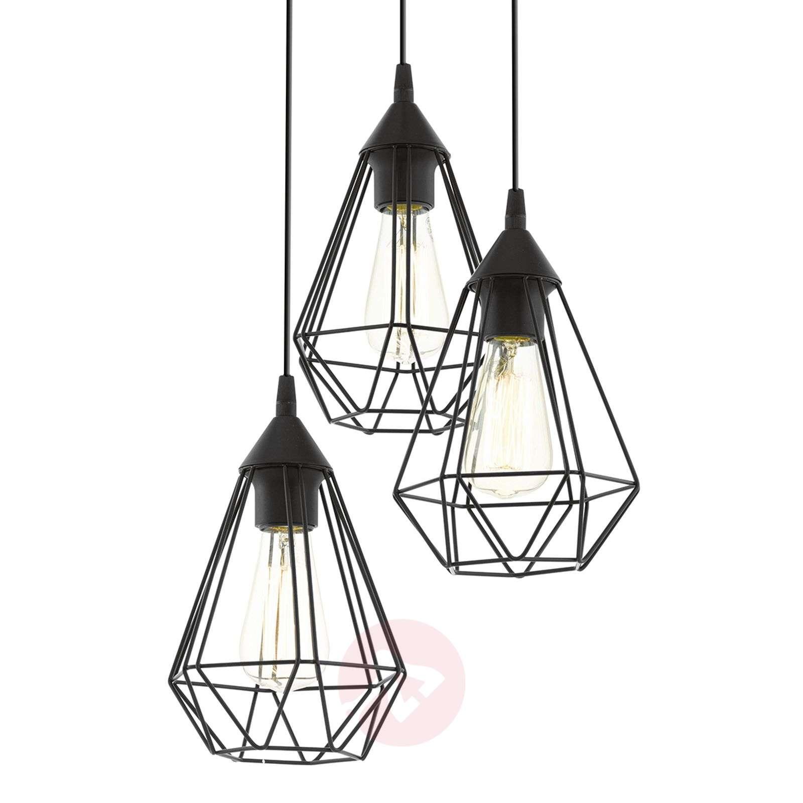 3-bulb vintage pendant light Tarbes in black-3031860-01