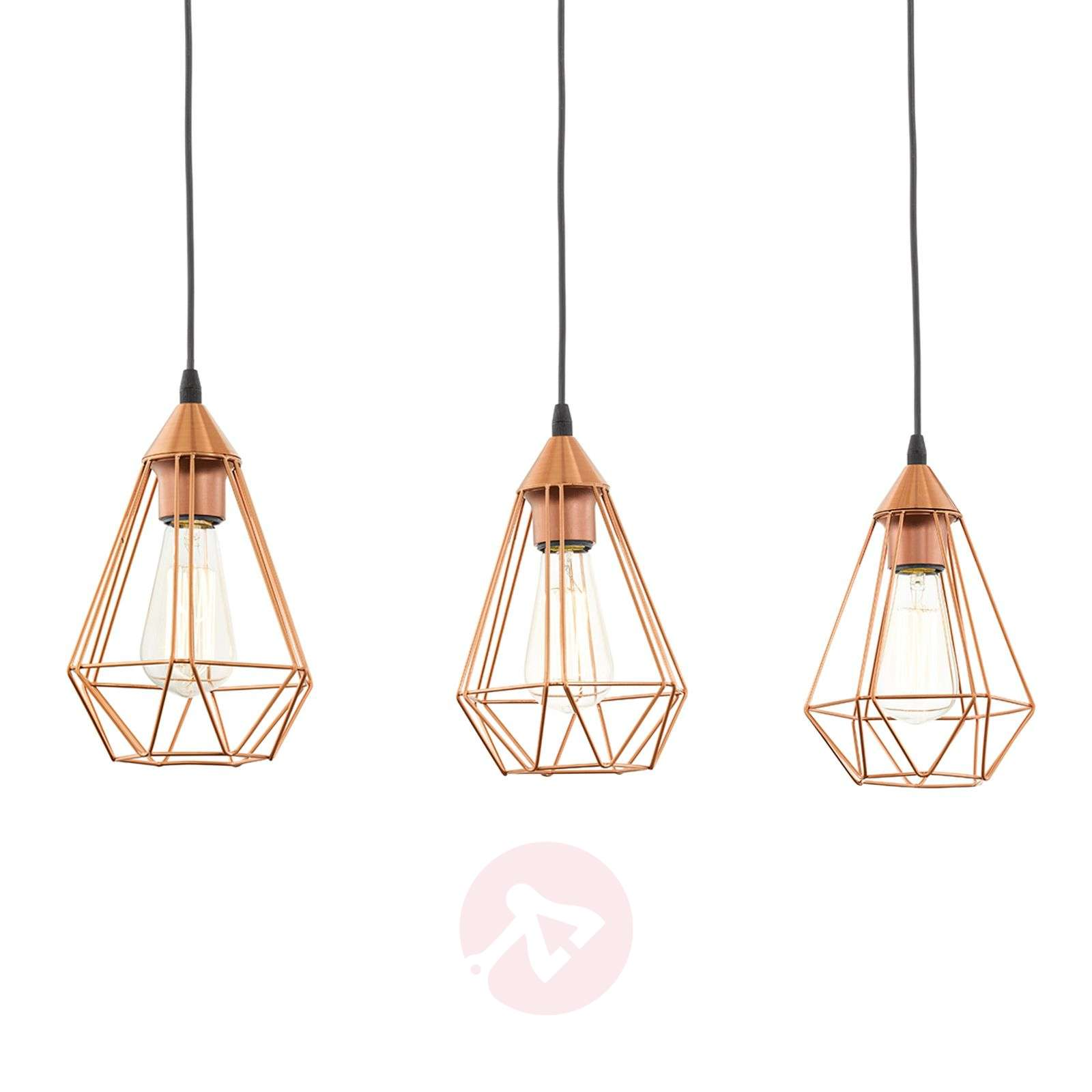 3-bulb vintage pendant light Tarbes in copper-3031864-01