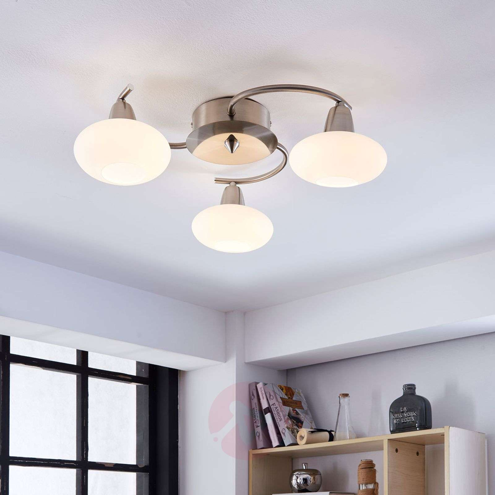 3-light LED ceiling light Espen, matt nickel-9620546-02