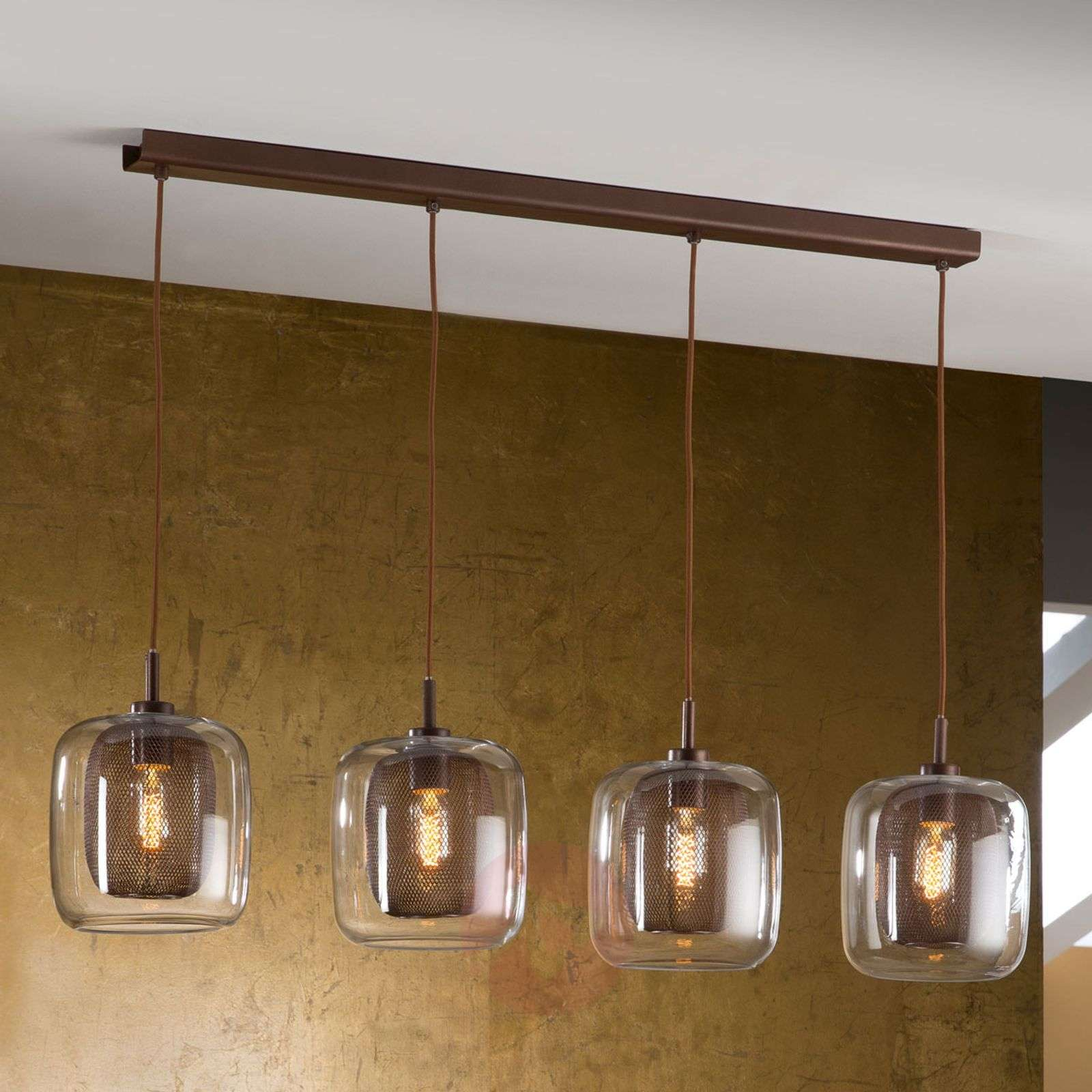 4-bulb Fox hanging light with double lampshades-8582297-01