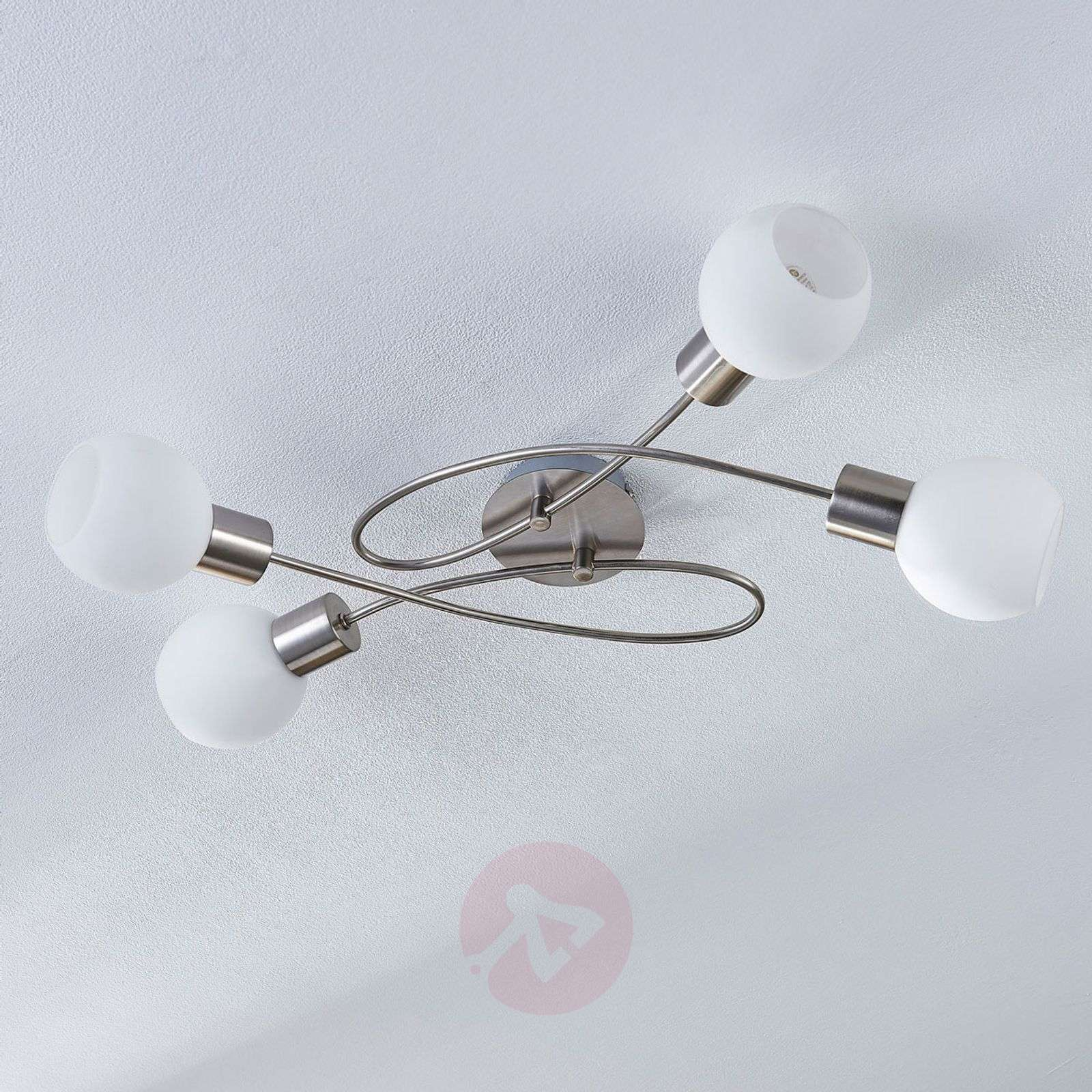 4-bulb LED ceiling light Hailey, nickel-9621040-02