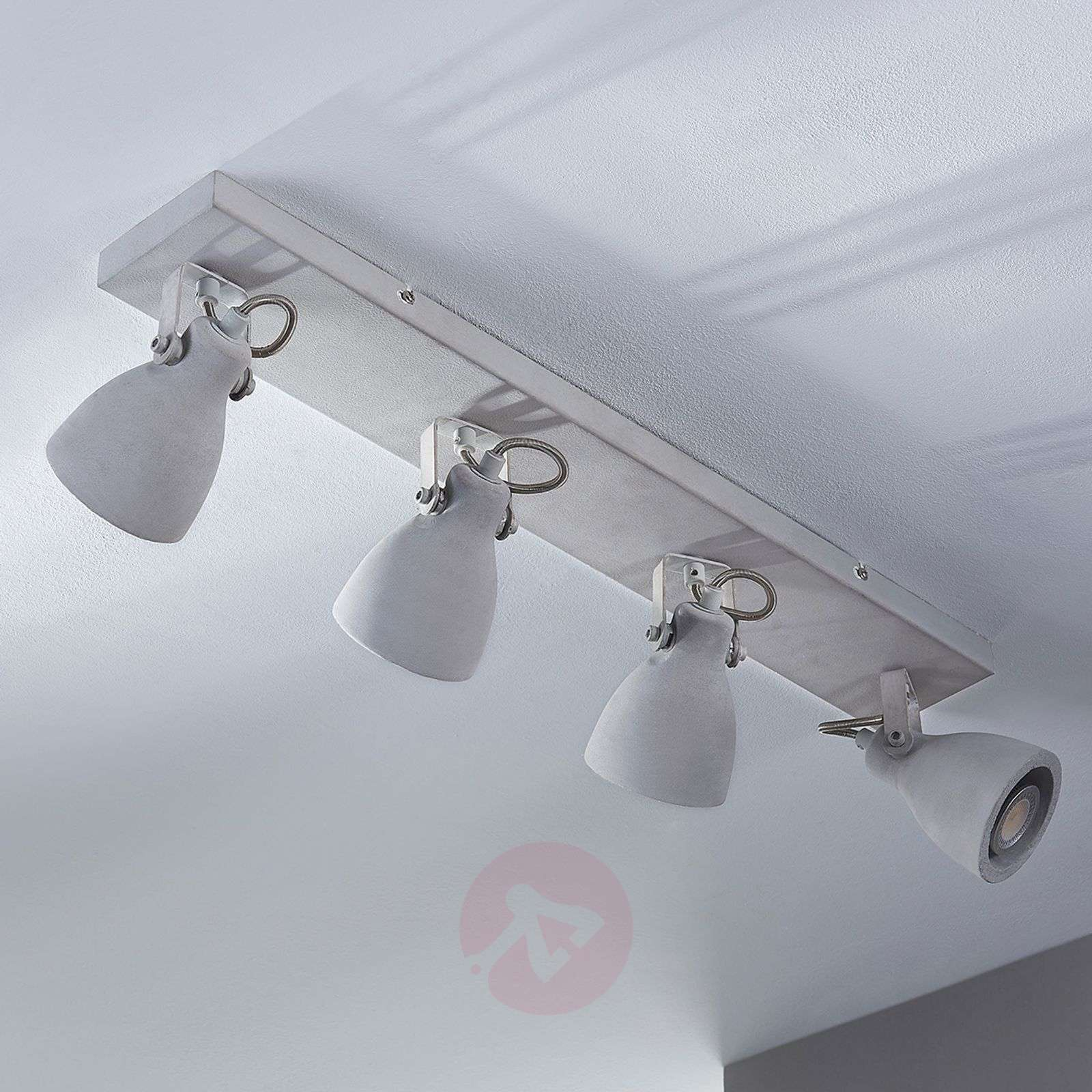 ... 4-bulb LED concrete ceiling l& Kadiga-9620678-02 ... & 4-bulb LED concrete ceiling lamp Kadiga | Lights.ie