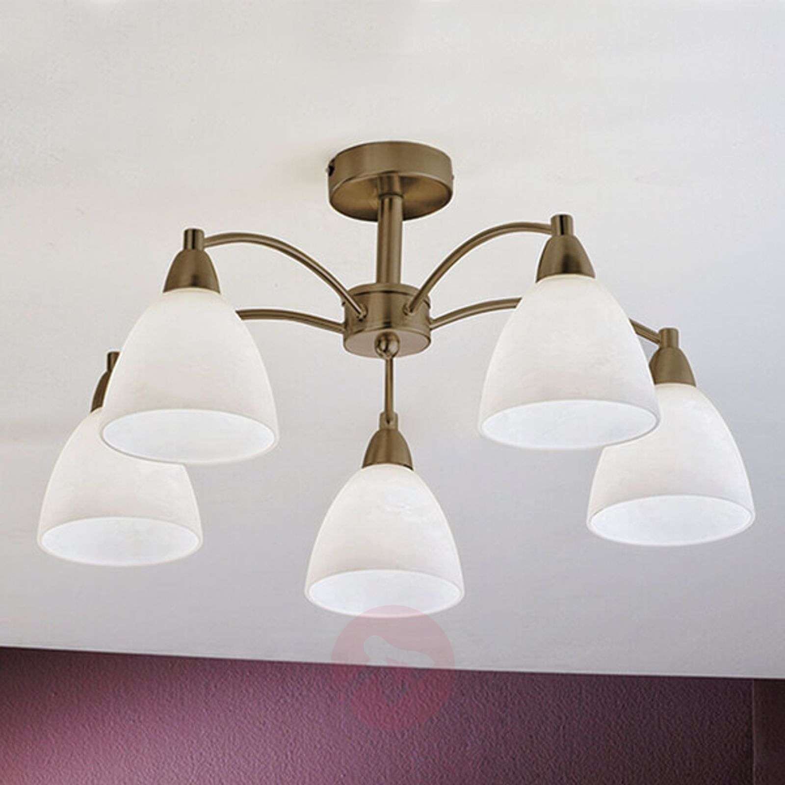 5-bulb ceiling lamp Kinga with antique brass look-7255342-01