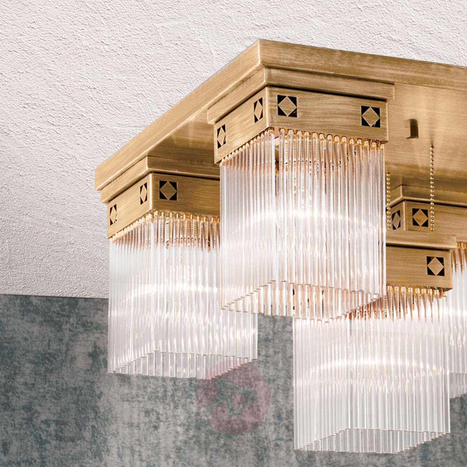 5-bulb Frieda ceiling light made from solid brass-7255207-01