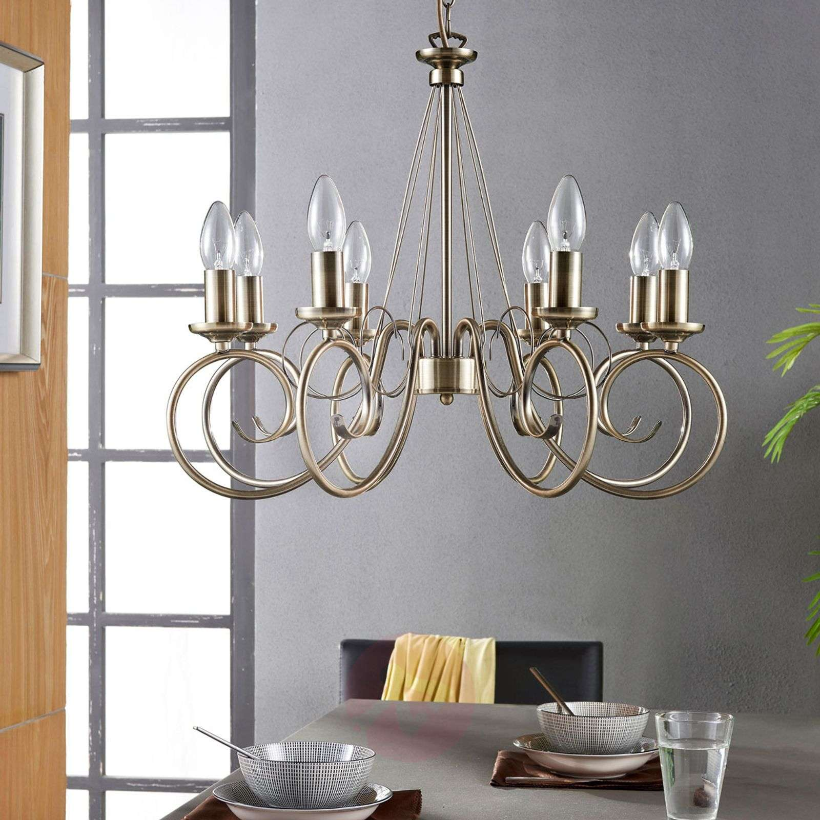 8-bulb Marnia chandelier in antique brass-9621016-01
