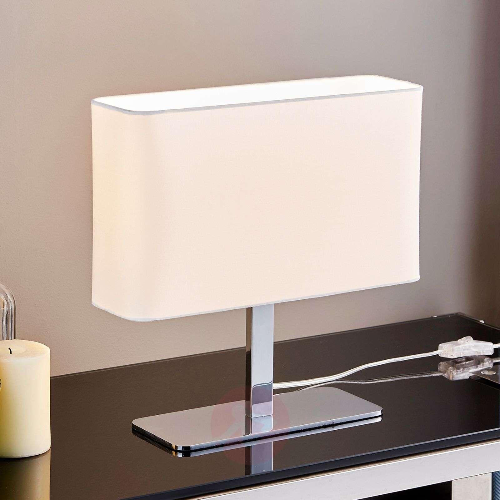 Angular, white fabric table lamp Nisa-9621053-01