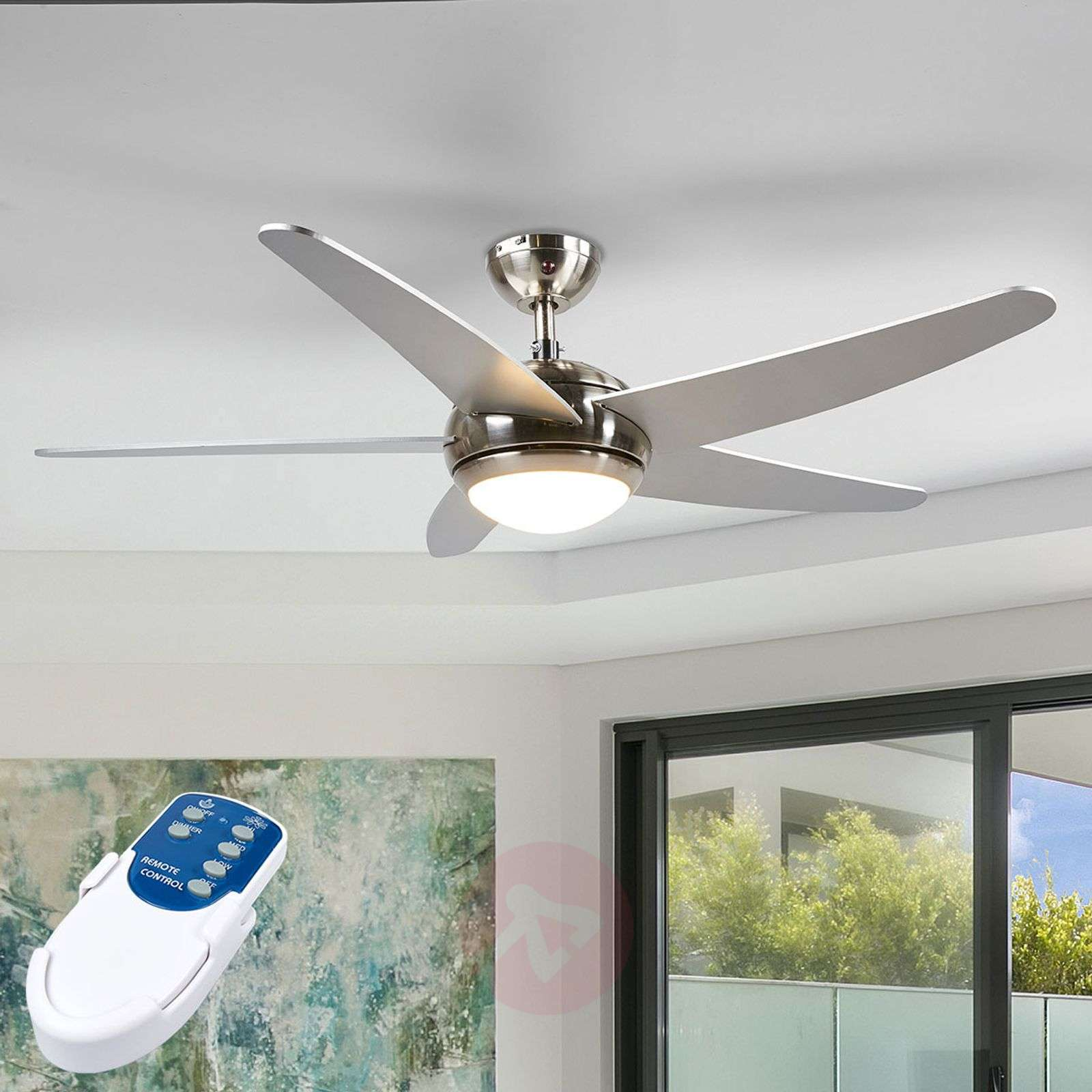 Anneka silver ceiling fan with LED light-4018094-010