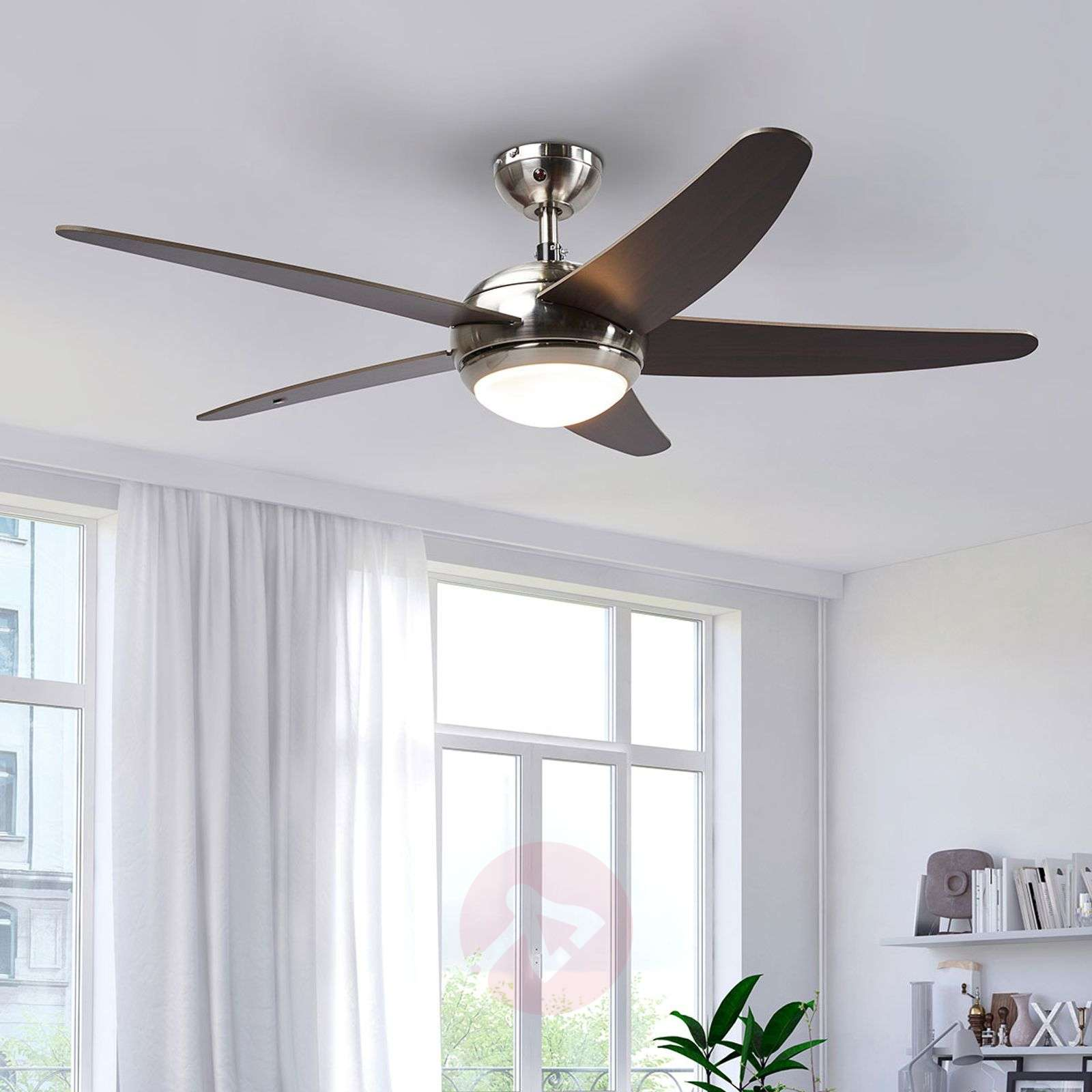 Anneka wenge-coloured ceiling fan with light-4018091-09