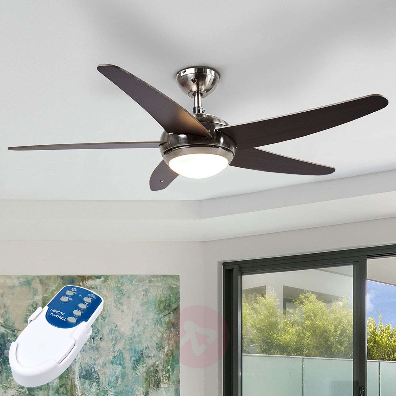 Anneka wenge-coloured ceiling fan with light-4018091-02