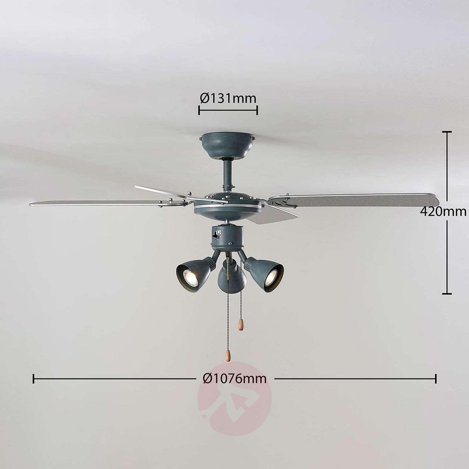 Anneke ceiling fan with light, silver, grey-4018212-02