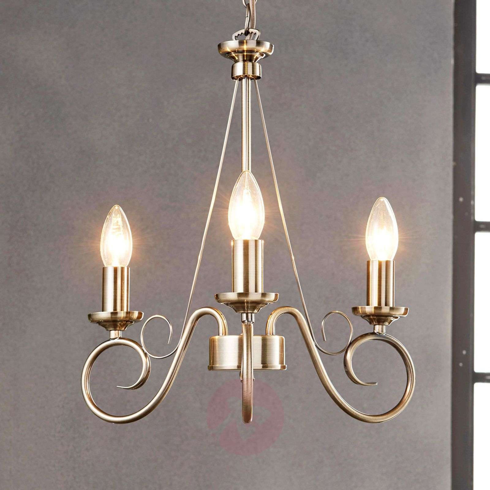 Antique brass chandelier marnia 3 bulb