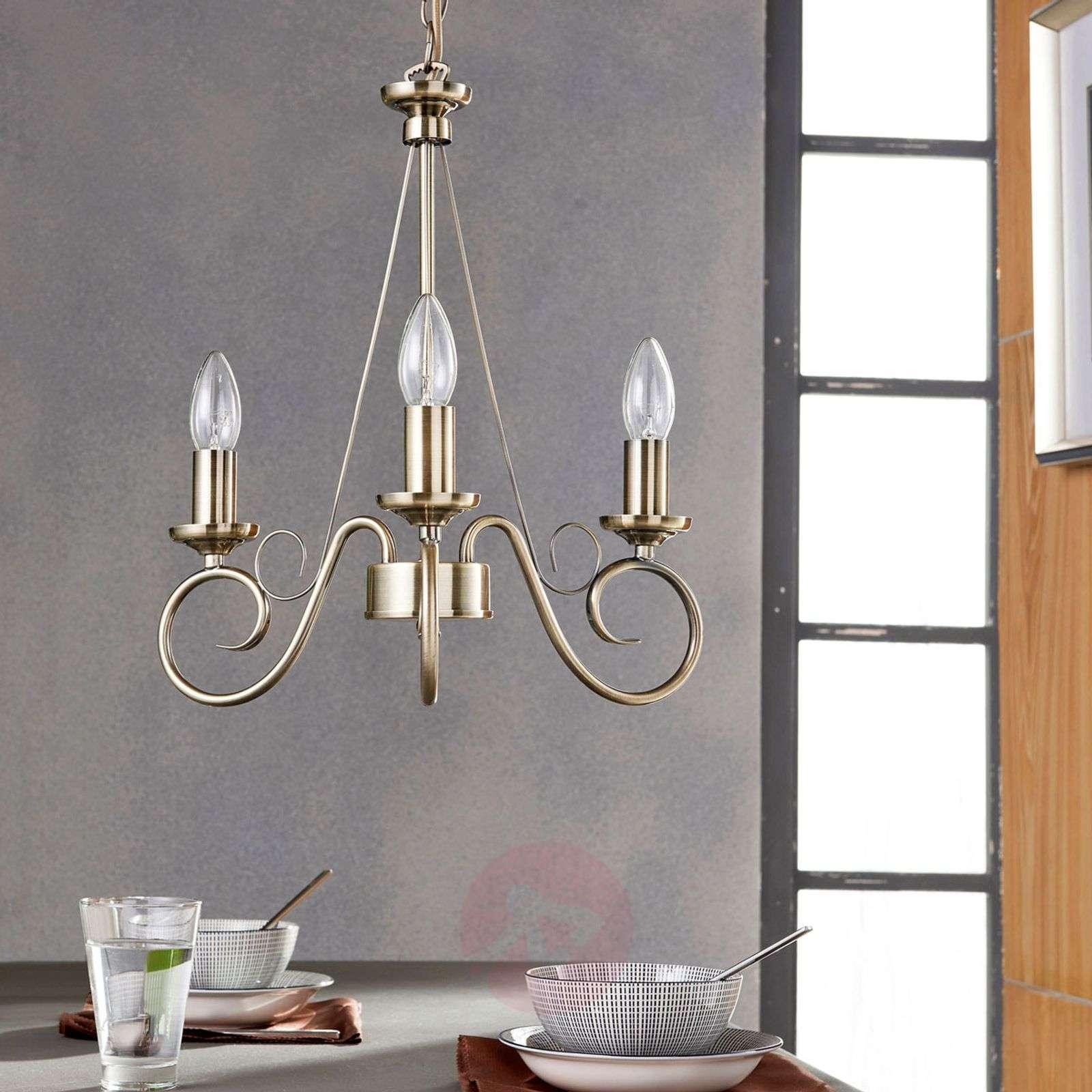 Antique brass chandelier Marnia, 3-bulb-9621014-01