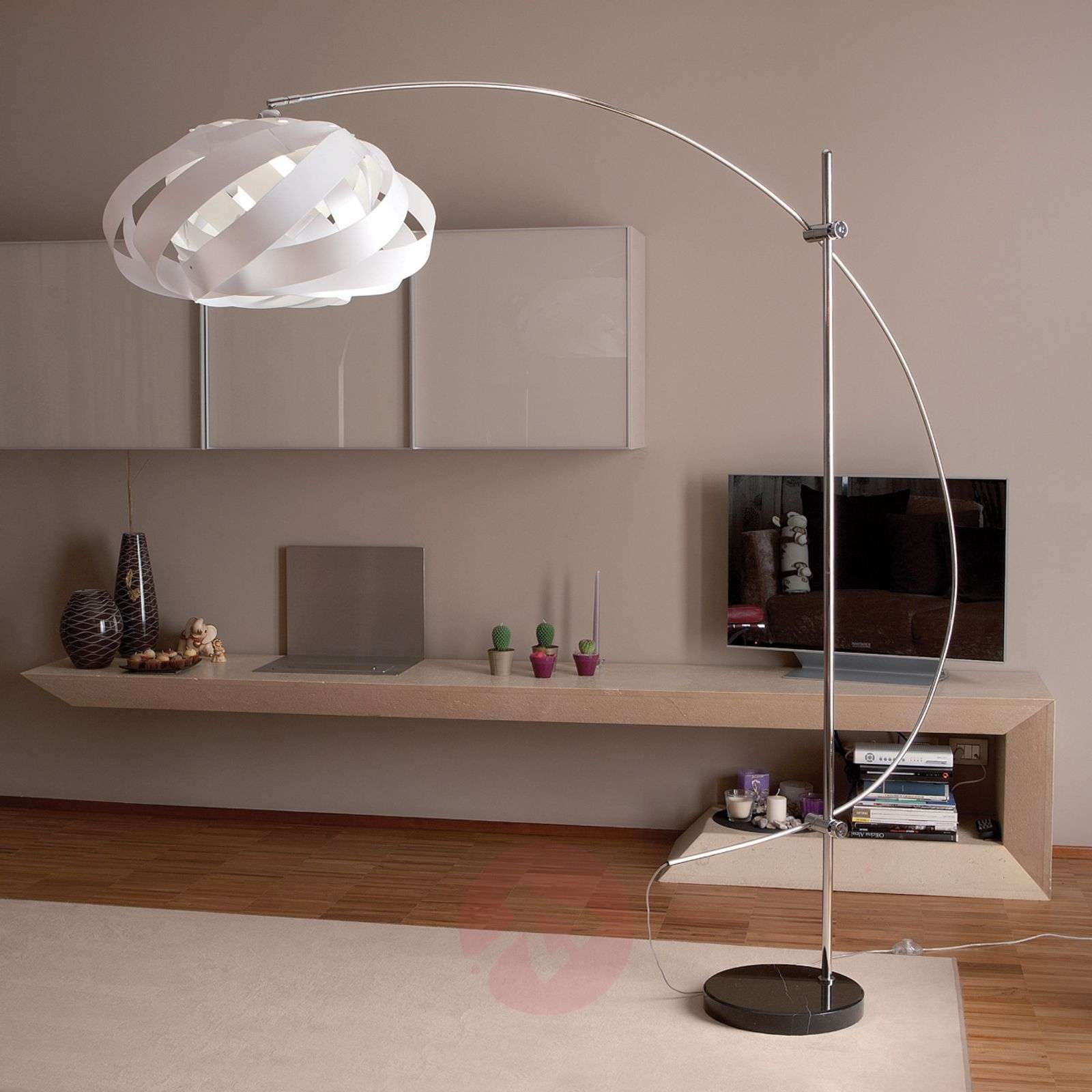 Arc lamp Plaza with a nest-shaped lampshade, white-1056040-01
