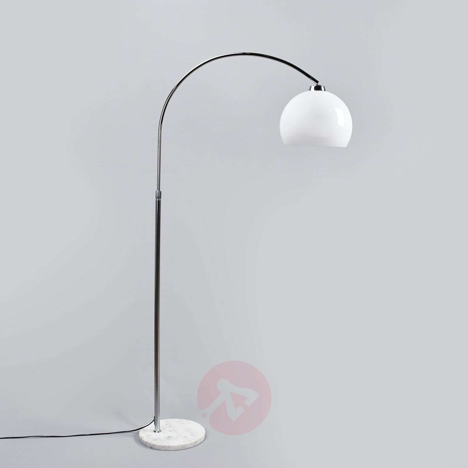 Arc lamp Sveri, marble base and white lampshade-9945219-01