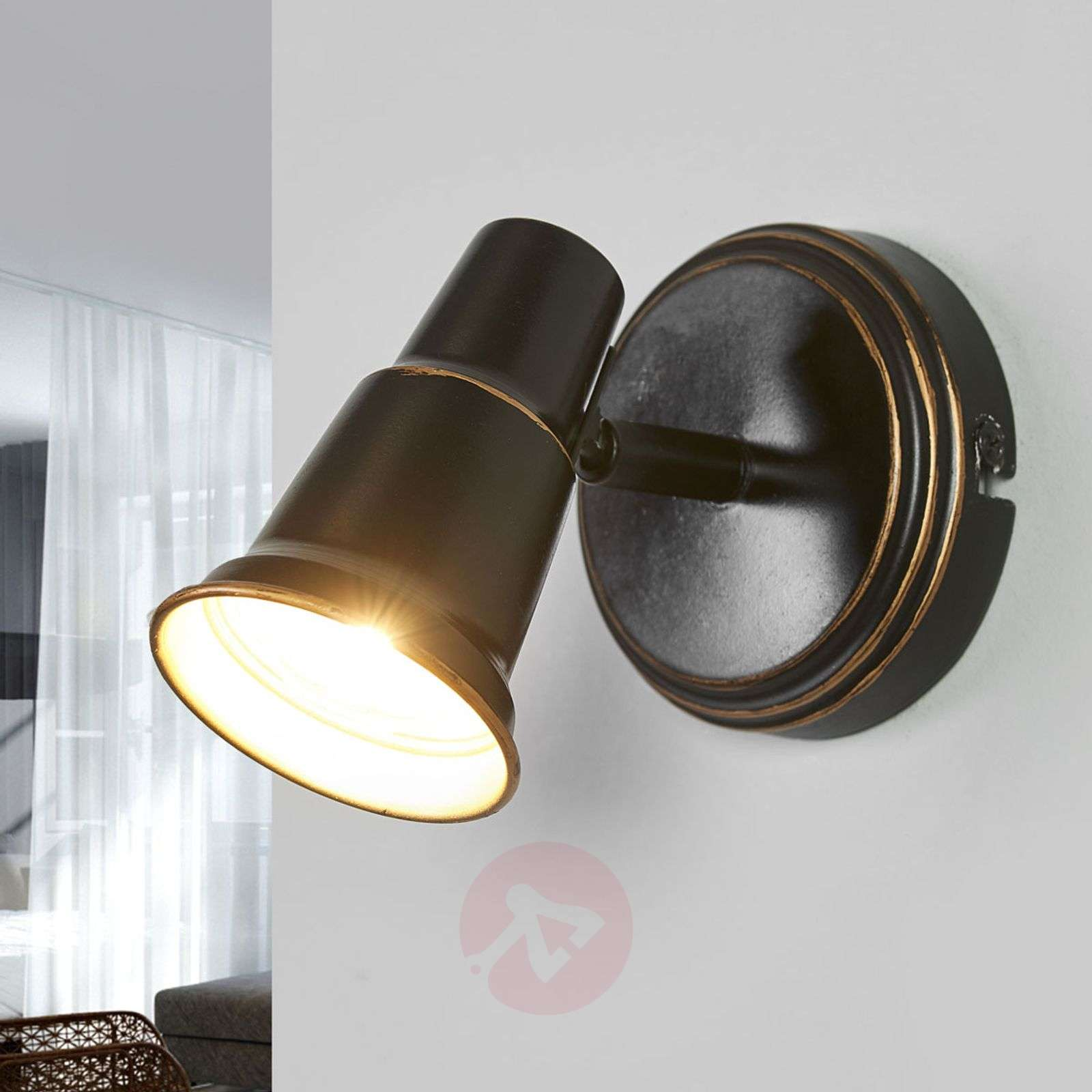 Arielle antique-looking wall lamp in black-9639101-08