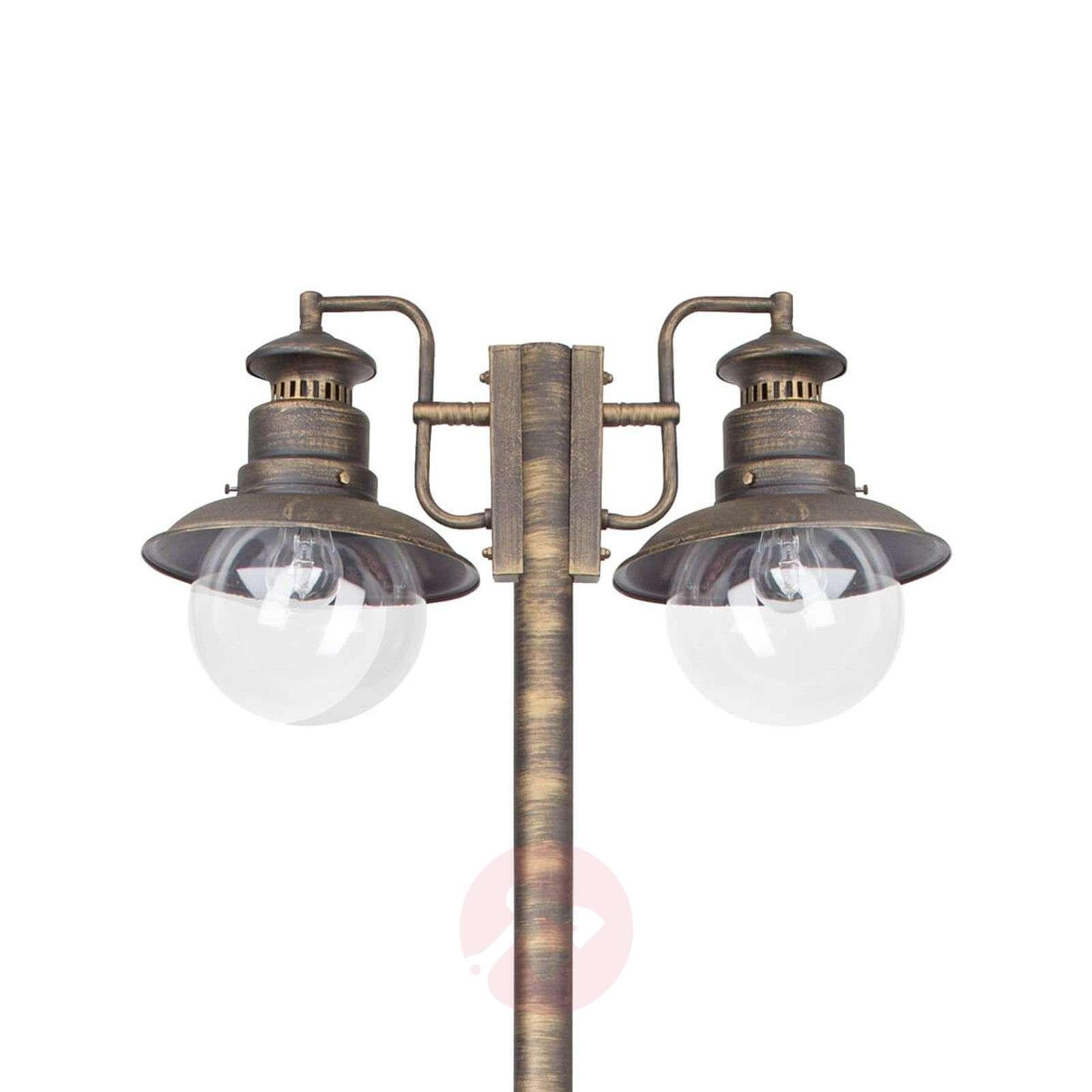 Artu two-bulb post light in black/gold-1507156-01
