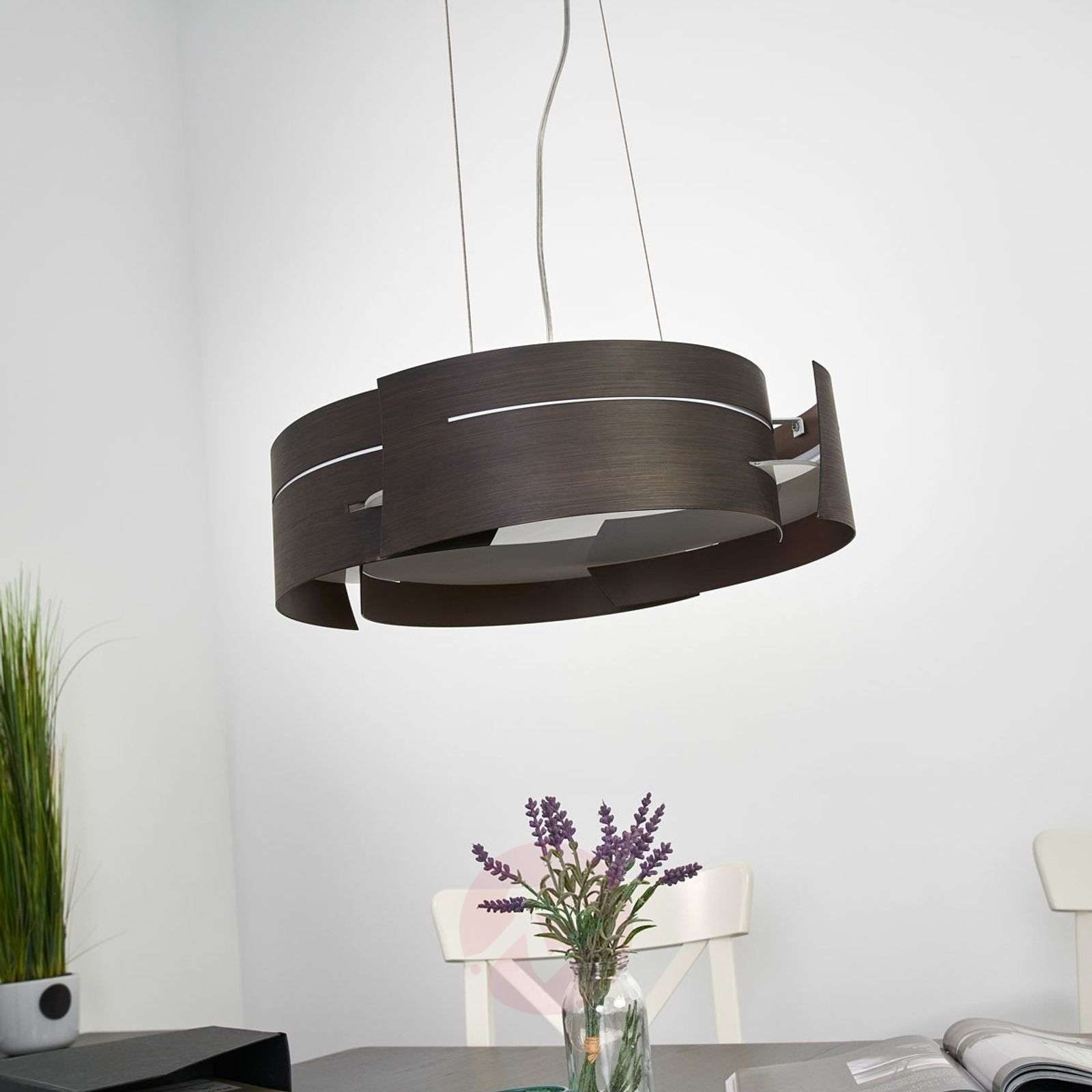 Attractive LED hanging lamp Keyron, brown finish-9625117-03