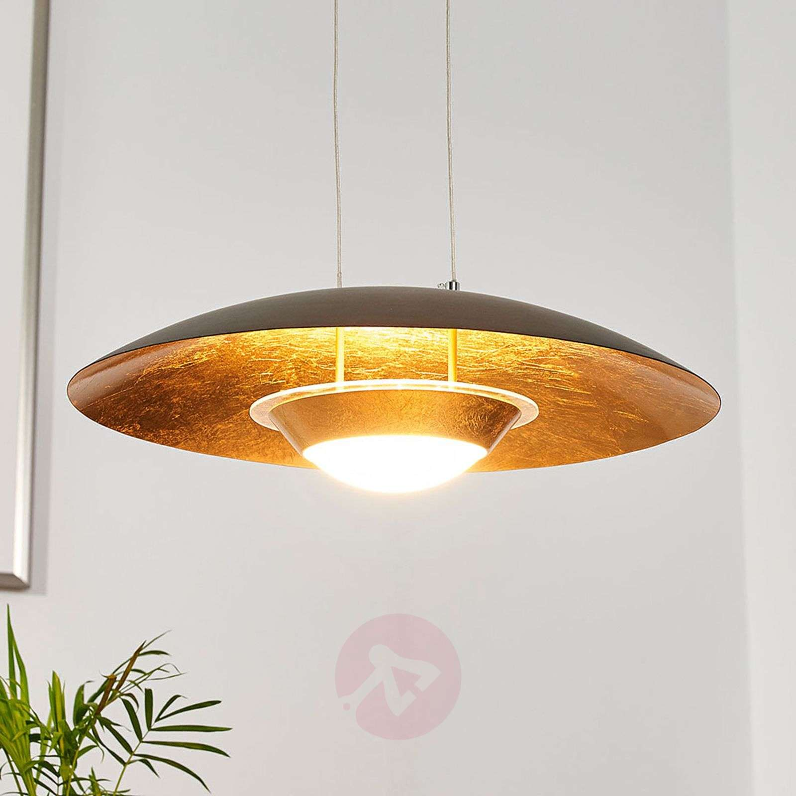 Attractive LED pendant lamp Yasien, black and gold-9625138-02