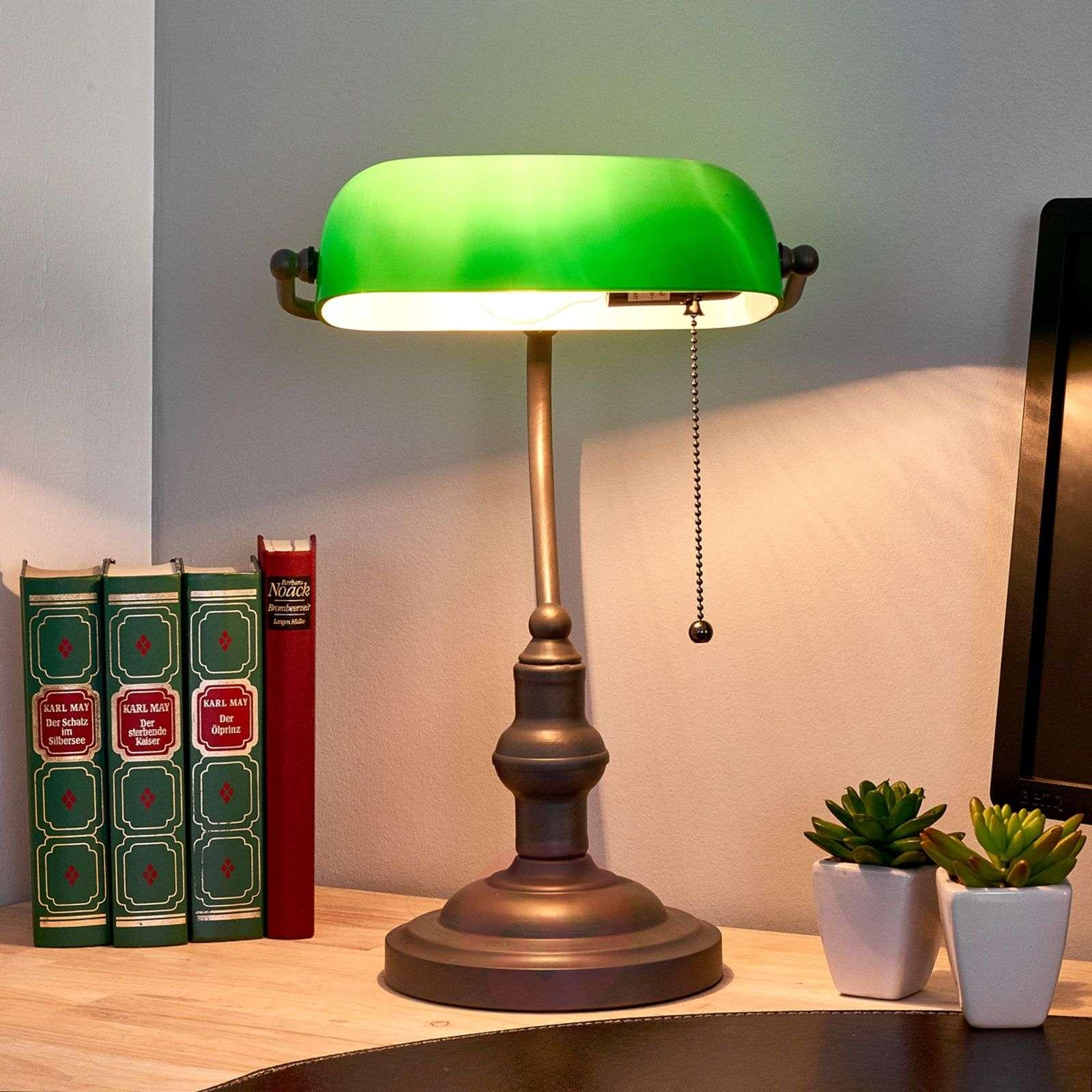 Banker Lamp Verda Base In Antique Brown Lights Ie