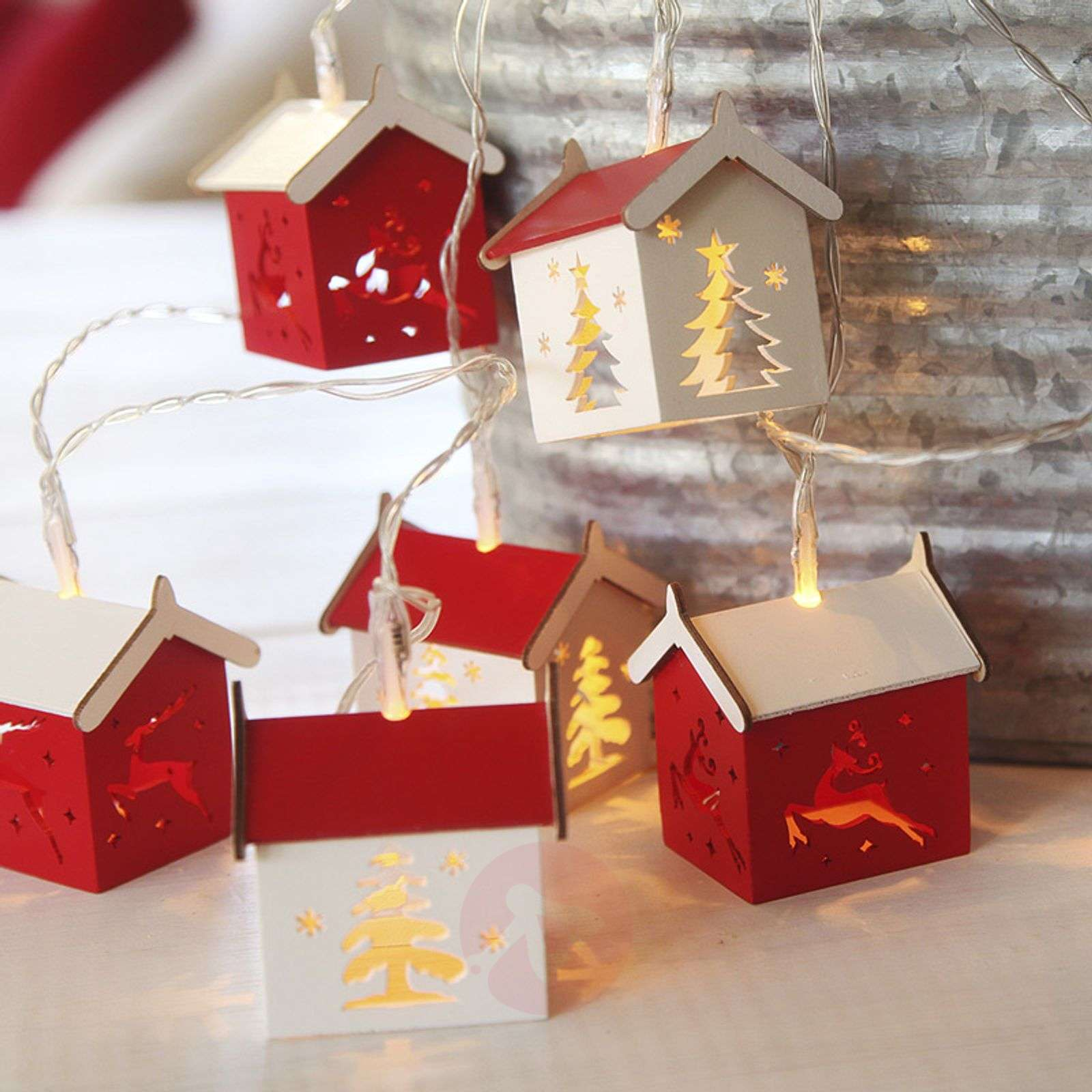 Battery-operated LED string lights Houses-1522628-02
