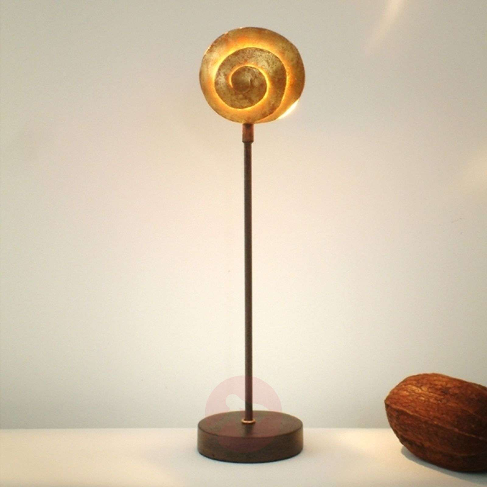 Beautiful table lamp Schnecke Gold made of iron-4512085-01