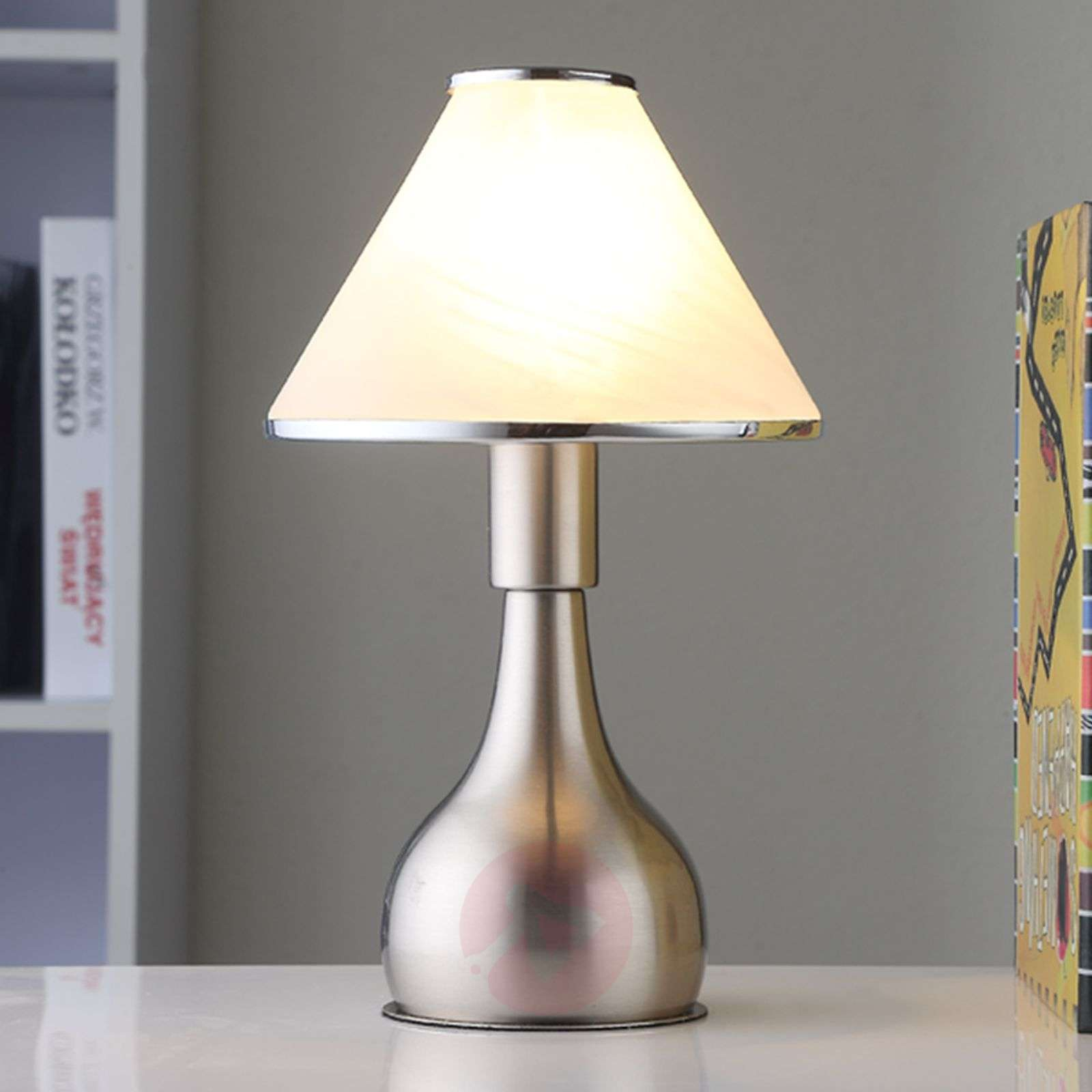 Bedside table lamp Ellen made from glass and metal-9620816-01