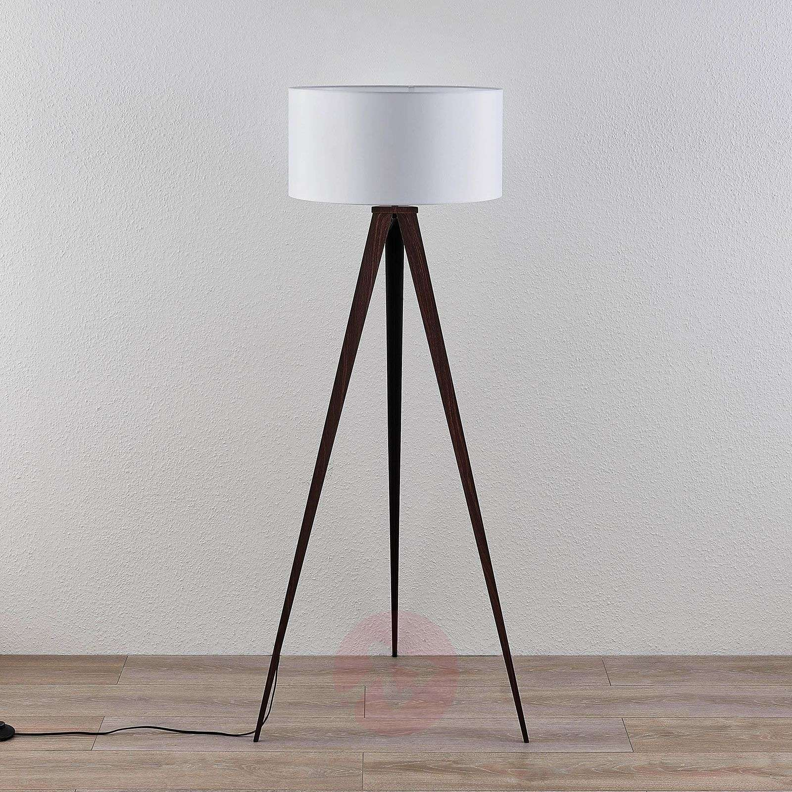 Benik tripod floor lamp, white lampshade, walnut-9624563-01