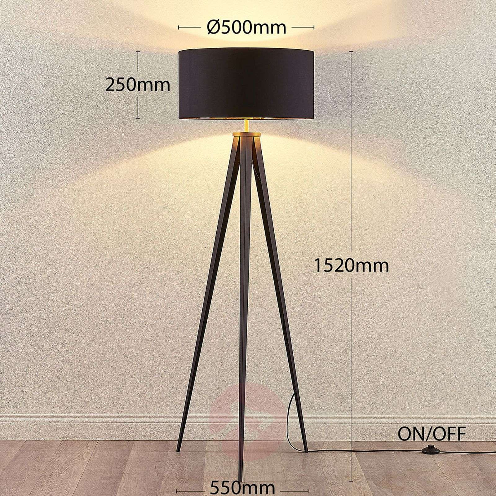 Black and gold floor lamp Benik in a tripod look-9621285-03
