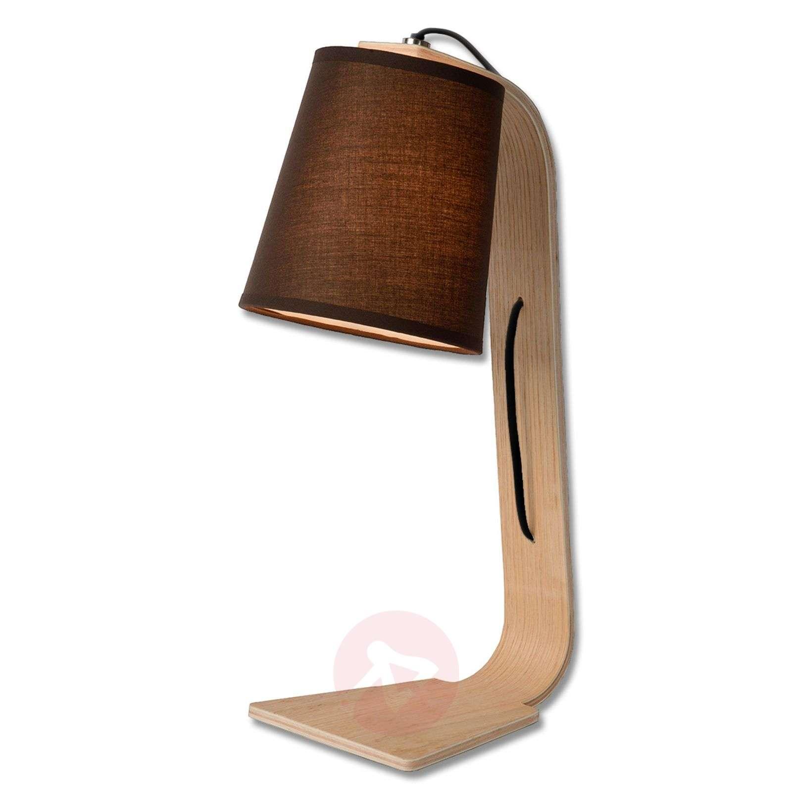 Black fabric shade Nordic wood table lamp-6054873-01