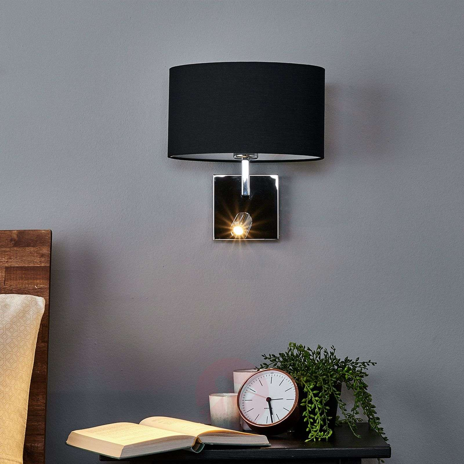 Black fabric wall lamp Karla with LED reading lamp-9976008-01