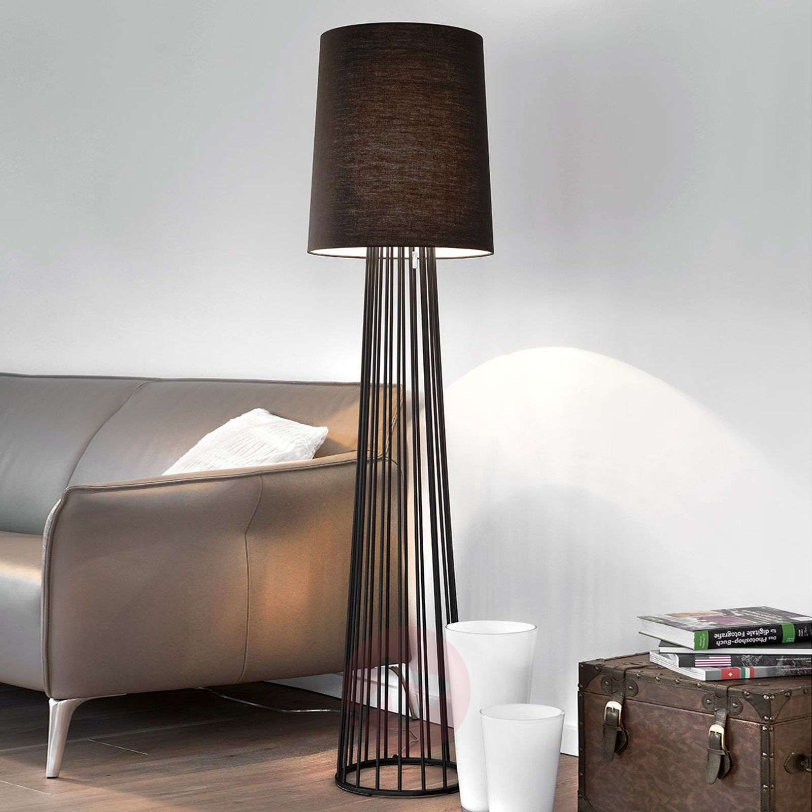 Black floor lamp Milan with pull switch-8507618-01