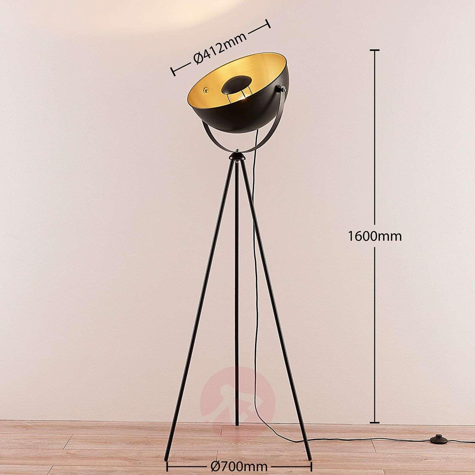 Black-golden tripod floor lamp Meline-9624020-02