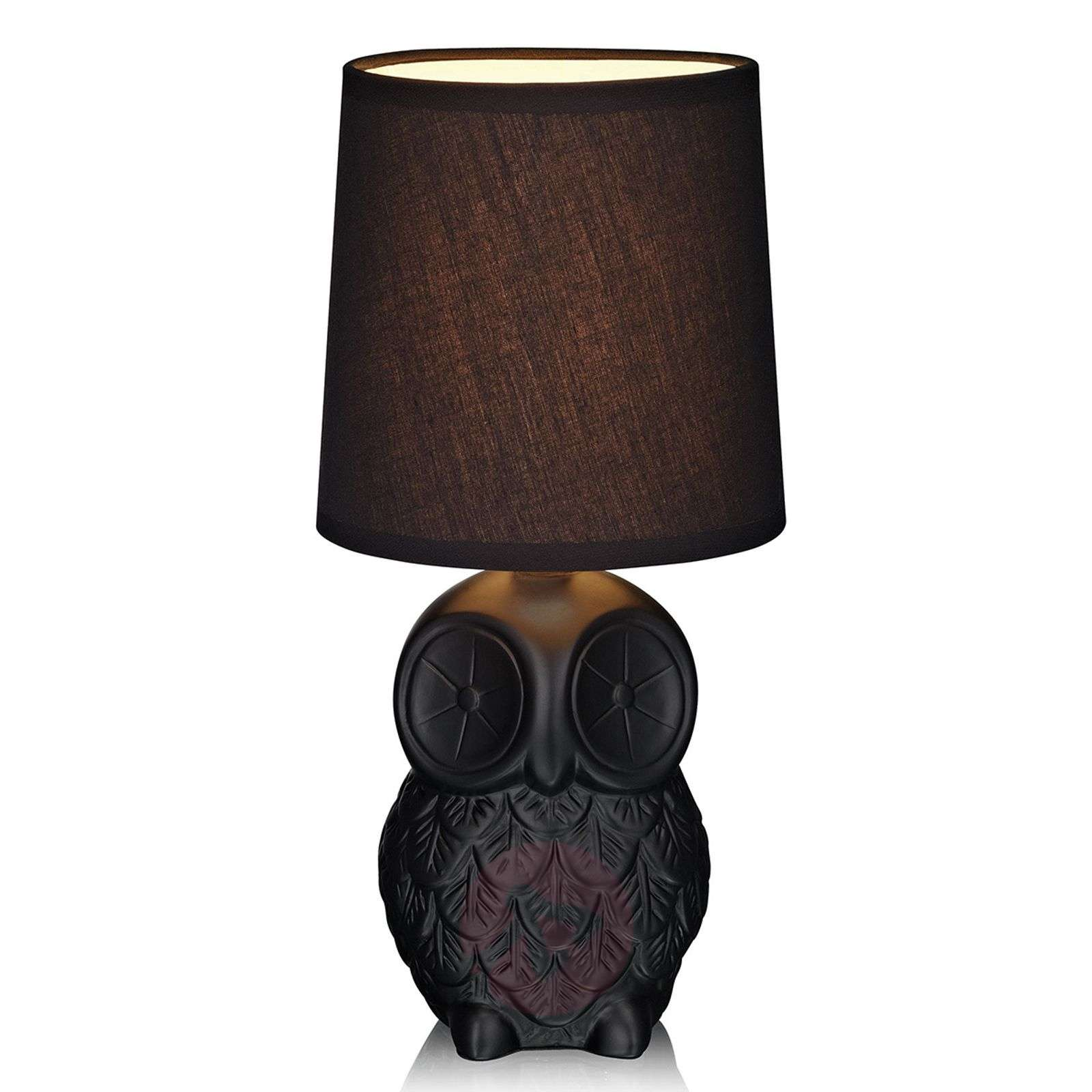 Black helge owl table lamp with fabric lampshade lights aloadofball Image collections