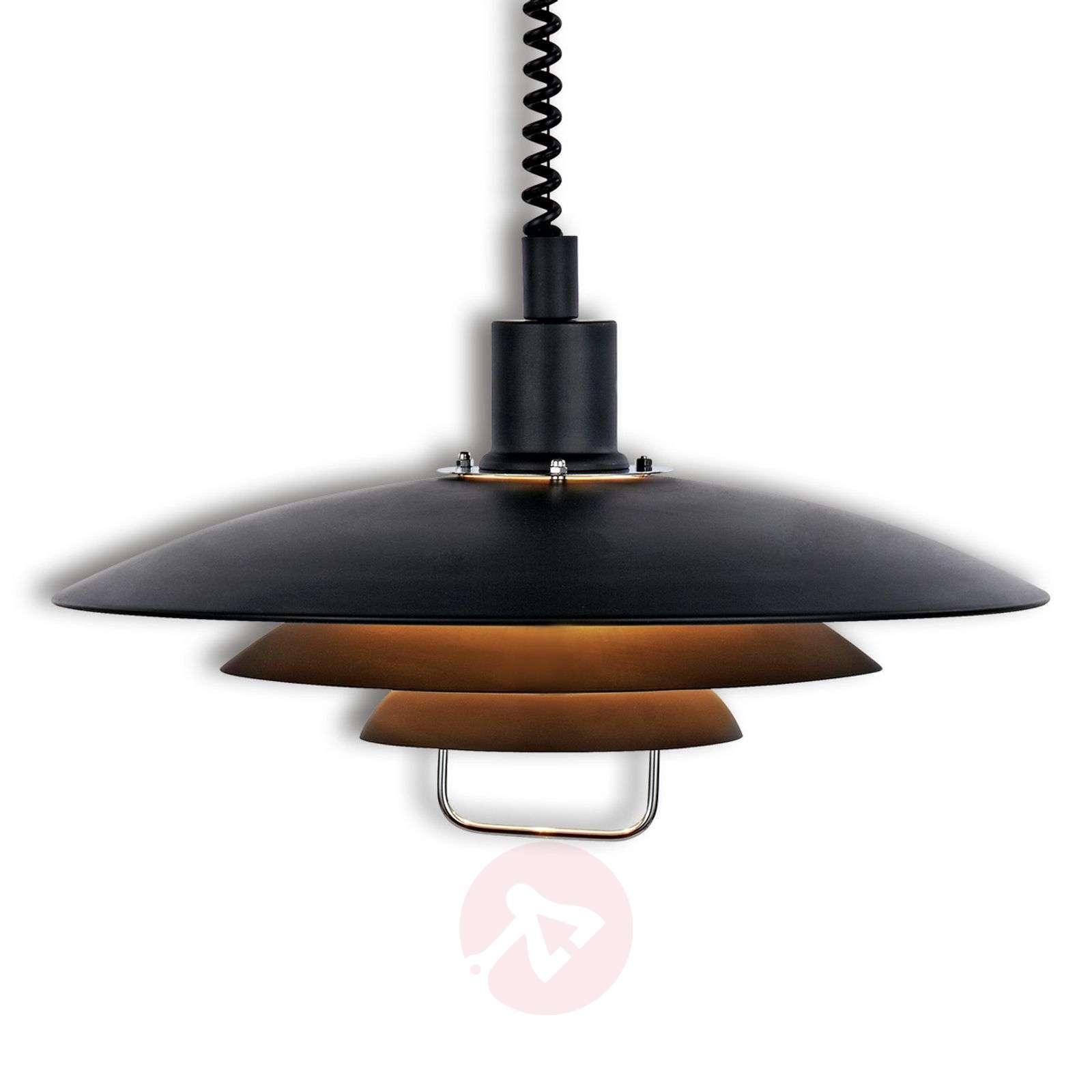 Black Kirkenes hanging light, height-adjustable-6506105-01