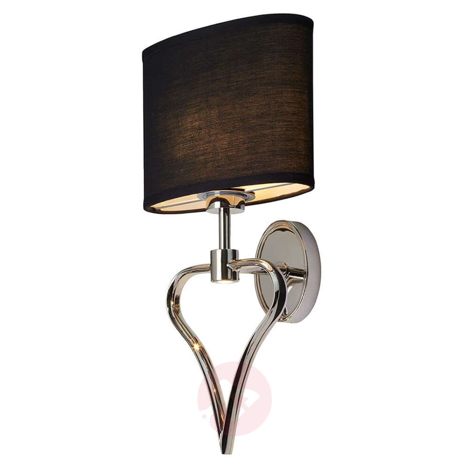 Black lampshade wall lamp Falmouth with LED-3048741-01