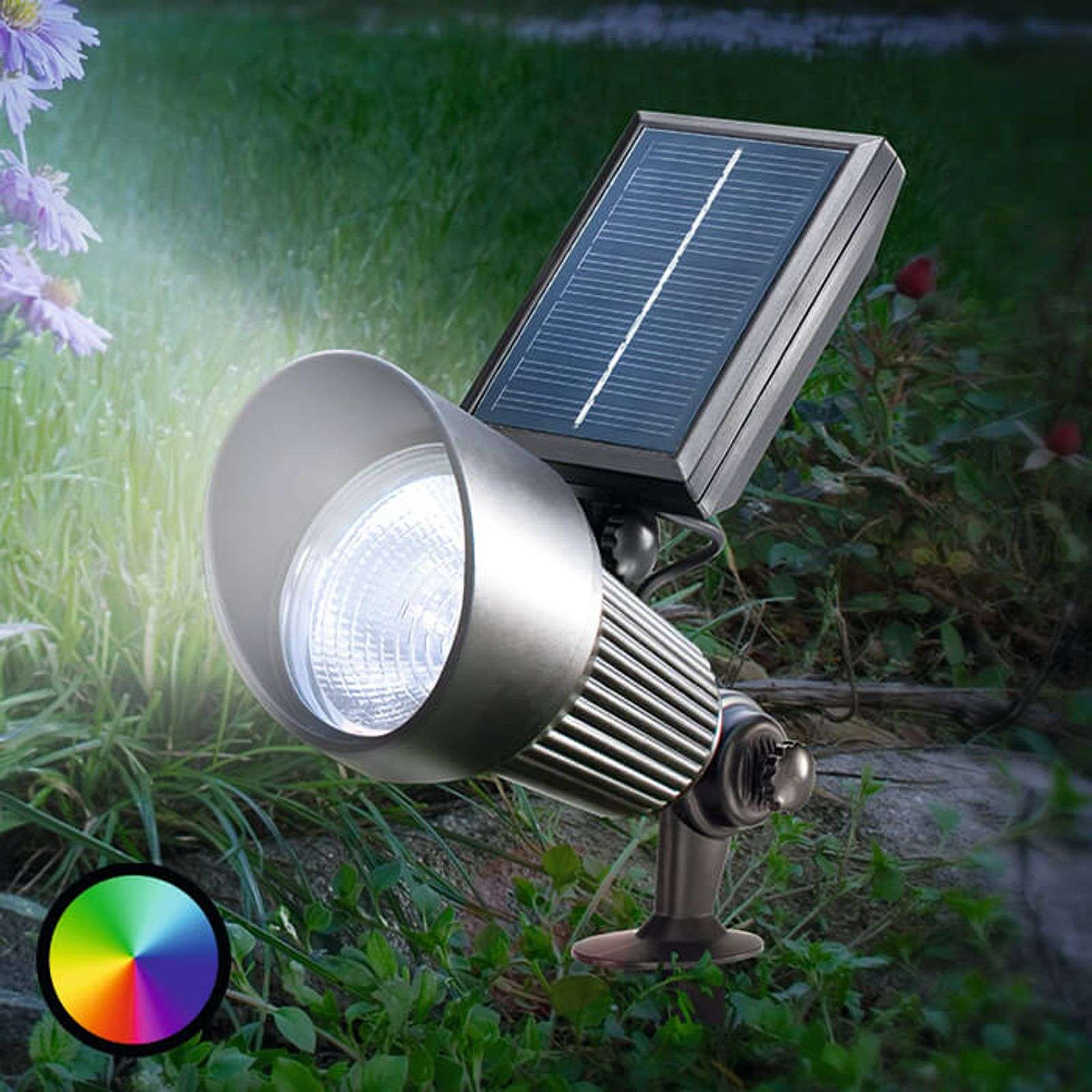 Black LED solar Spotlight with RGB light-3012553-01