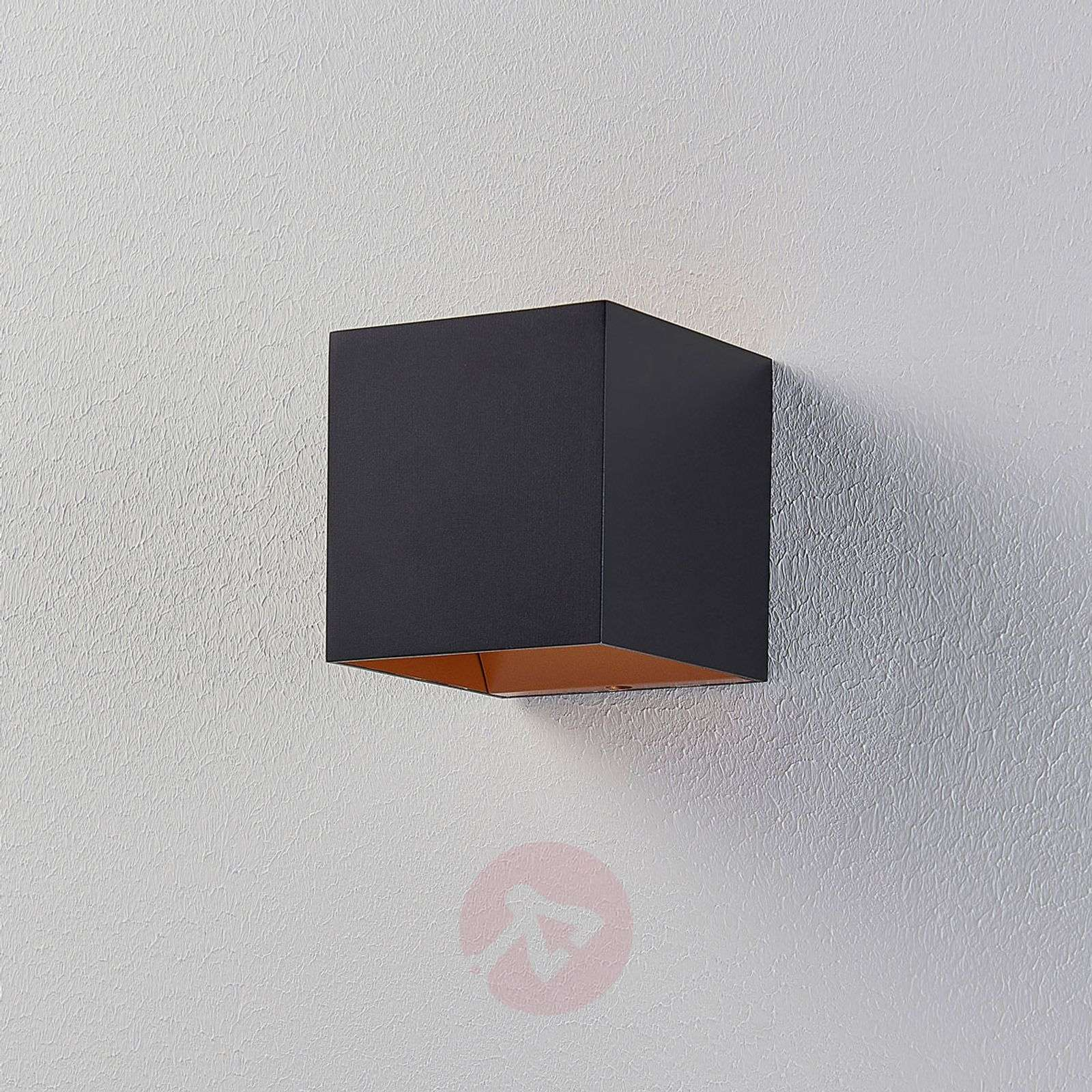 Black LED wall lamp Aldrina, gold inside-9620716-01