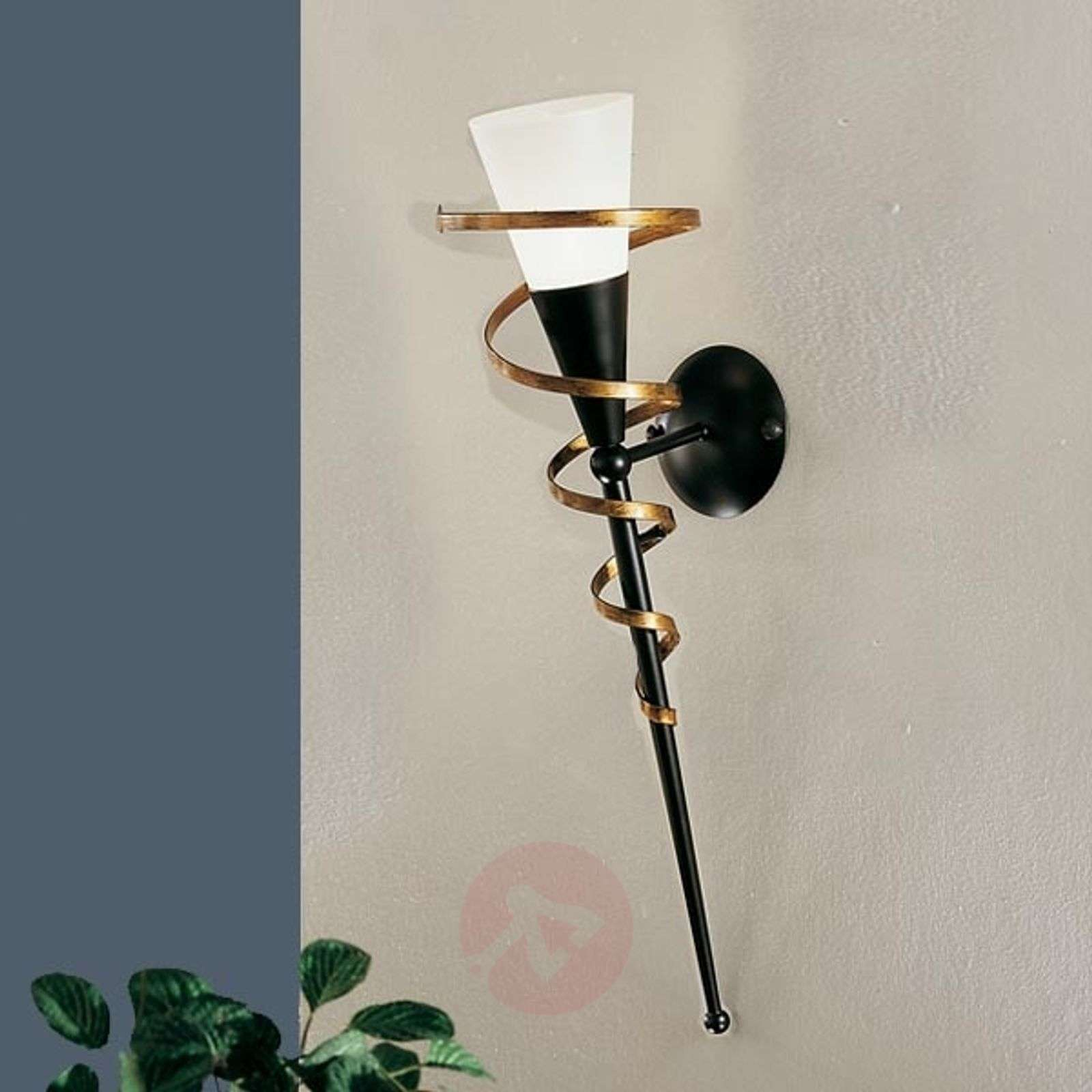 Black wall torch BONITO with a golden spiral-5505023-01