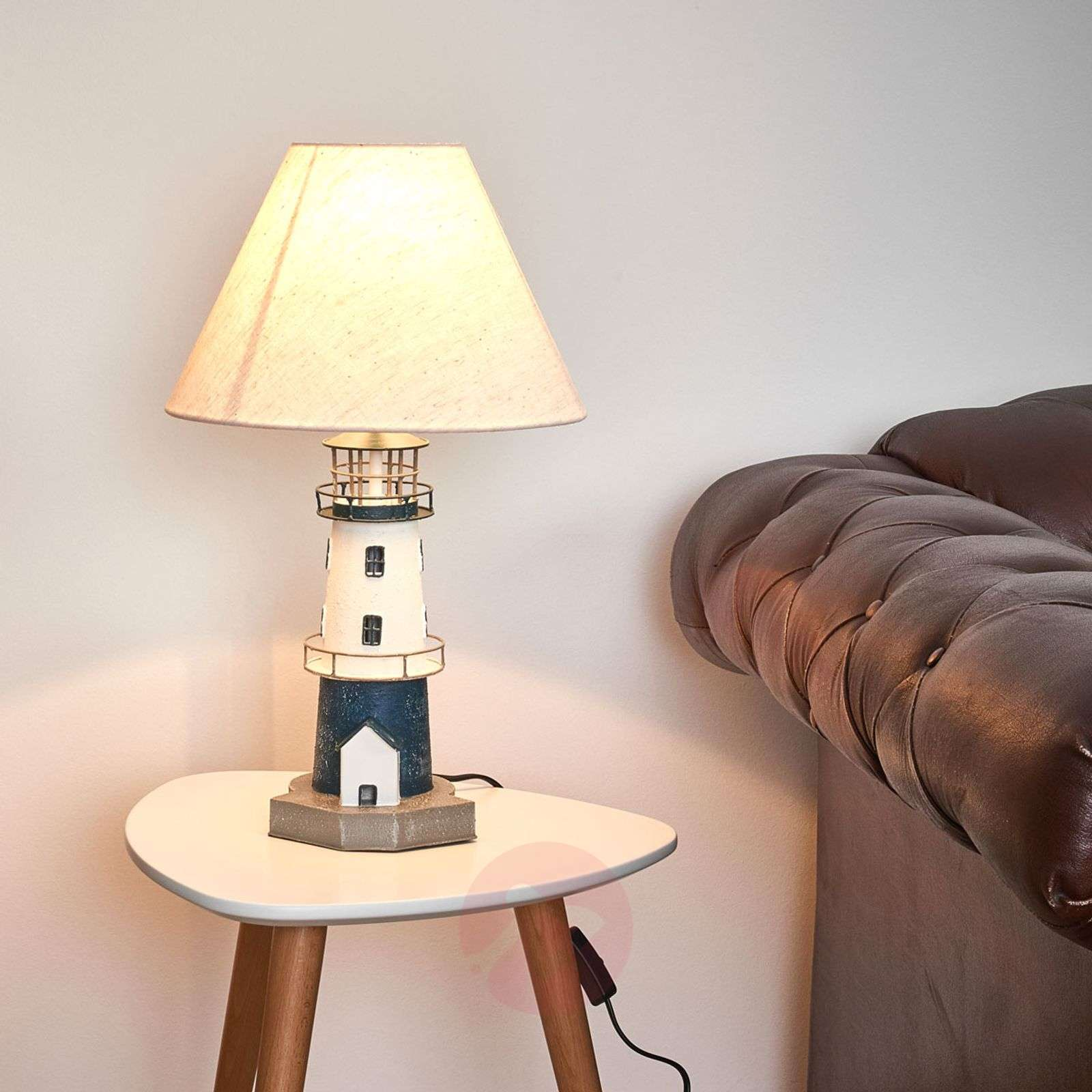 Blue-striped lighthouse table lamp Piet-8553058-01