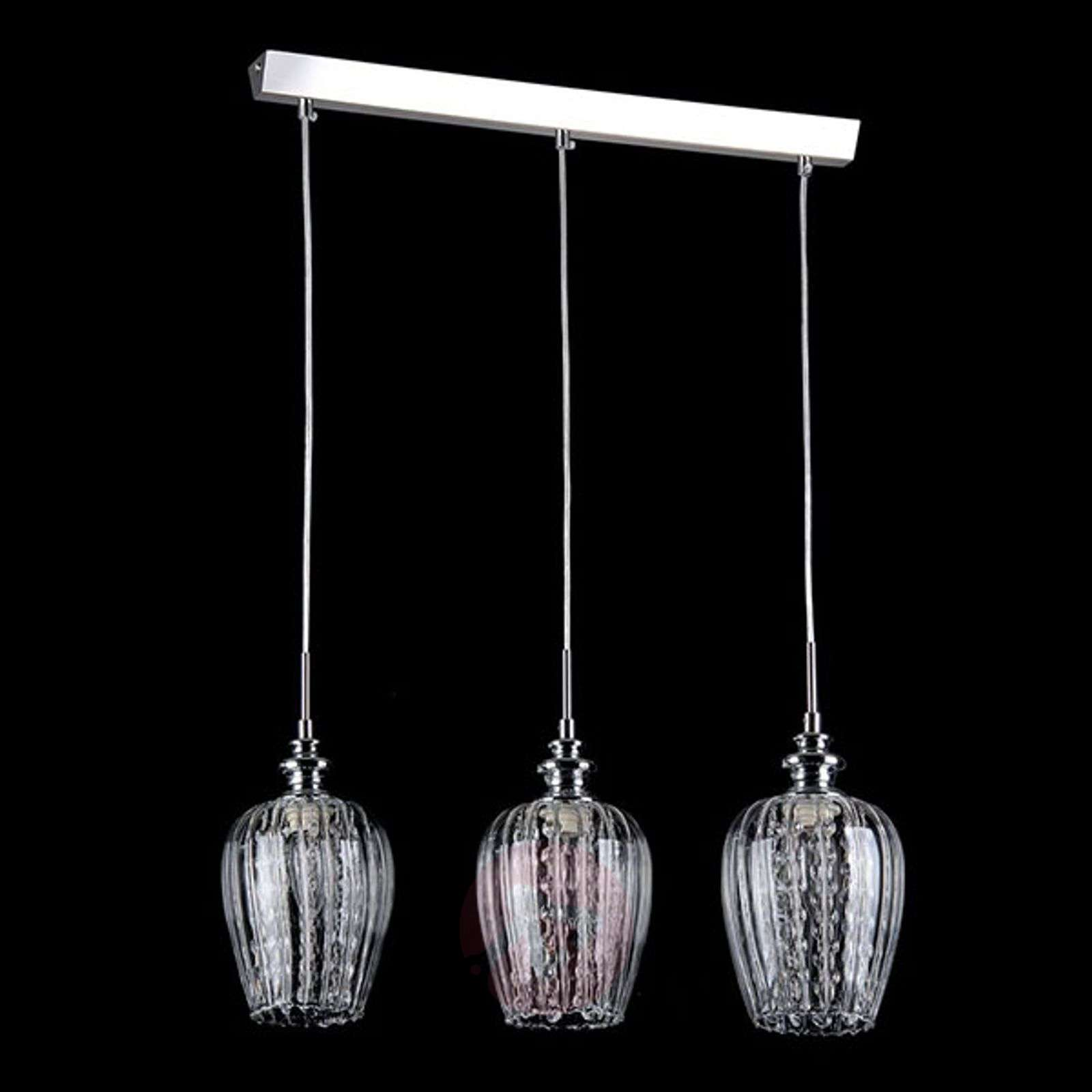 Blues hanging light with three glass shades-6727104-01