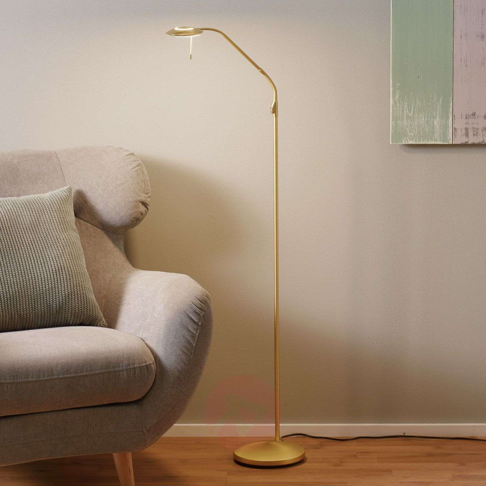 Brass-coloured LED floor lamp Zenith with dimmer-8509719-01