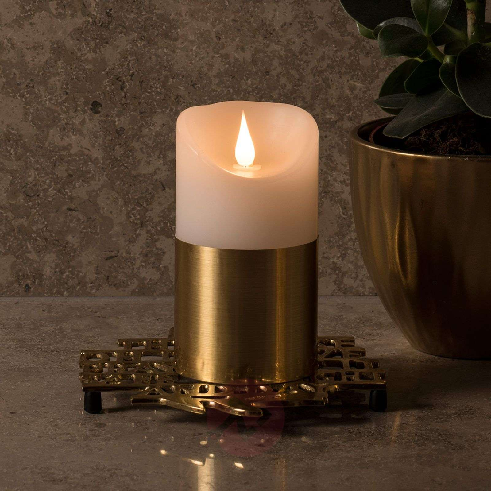 Brass-coloured sleeve LED wax candle-5524855X-01