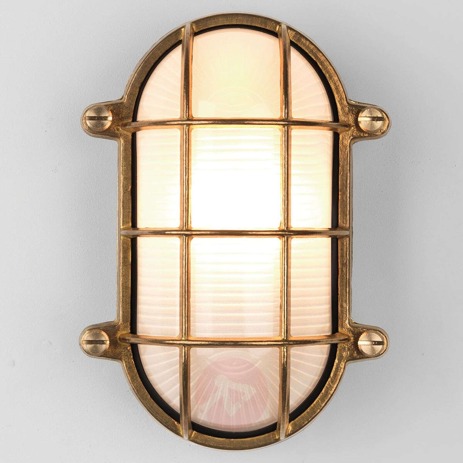 Brass-coloured Thurso Oval outdoor wall light-1020582-01