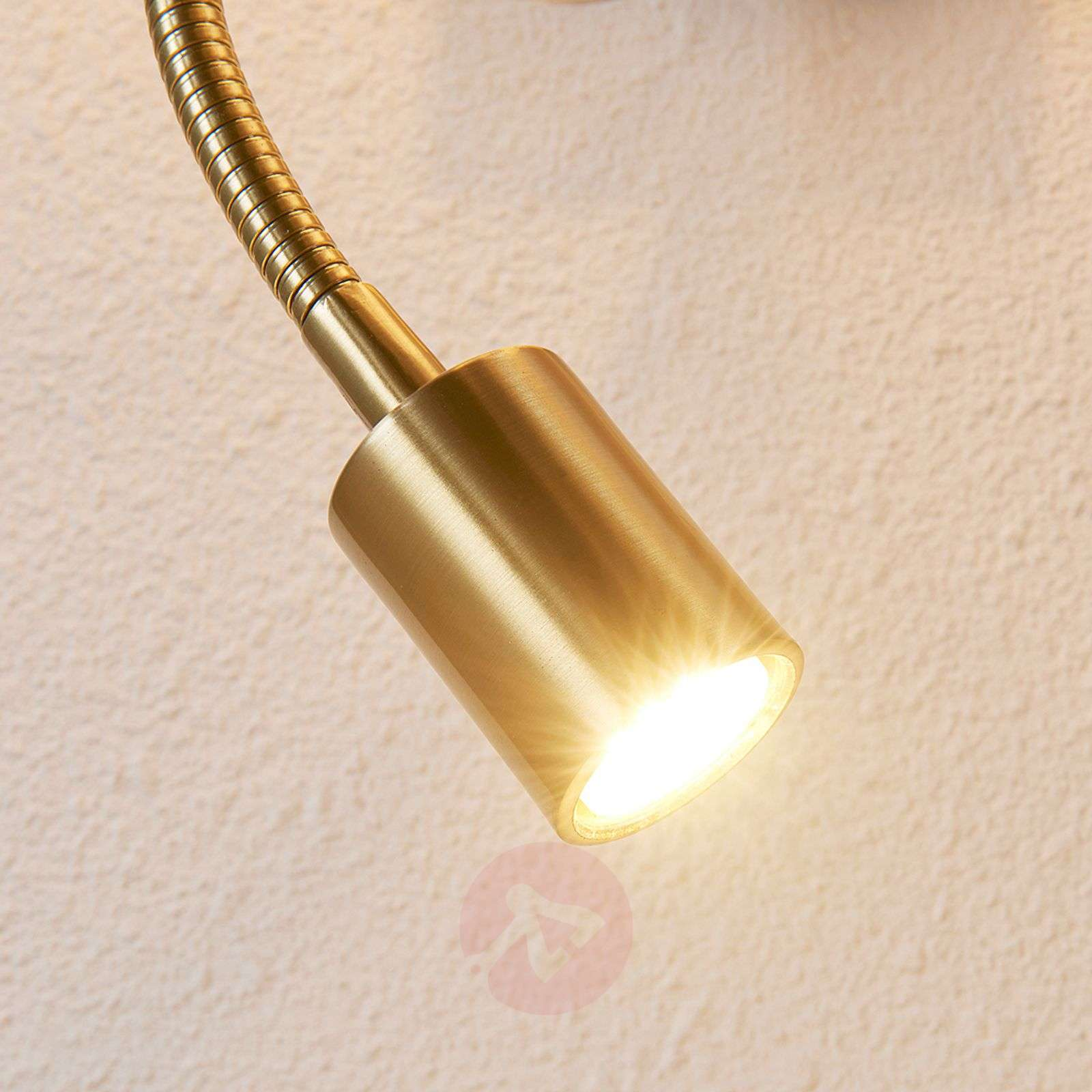 Brass-coloured wall lamp Florens LED reading light-9620923-03